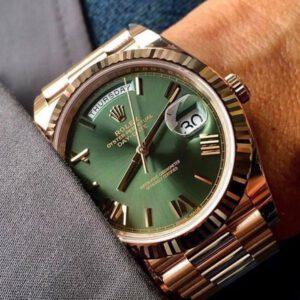 Rolex 228235 vàng hồng 18k size 40mm mặt xanh Bộ đội cực hiếm