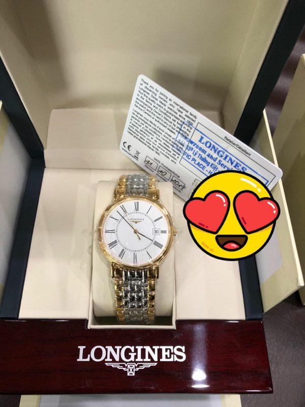 Longines thép mạ vàng sản xuất năm 2017 đầy đủ hộp thẻ mới