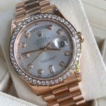 Rolex Day-Date 118205 vàng hồng niềng kim cương size 36mm