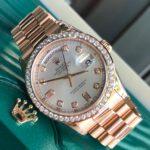 Rolex Day-Date 118205 vàng hồng niềng kim cương size 36mm-2