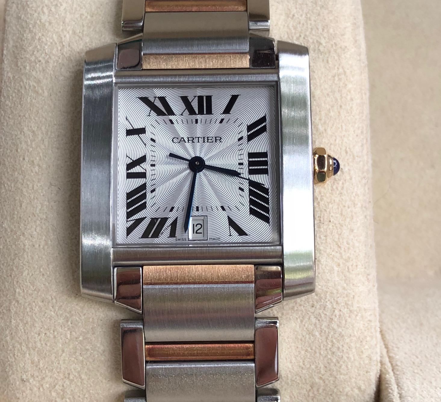Cartier Tank Française Steel 18k Automatic Watch 2302