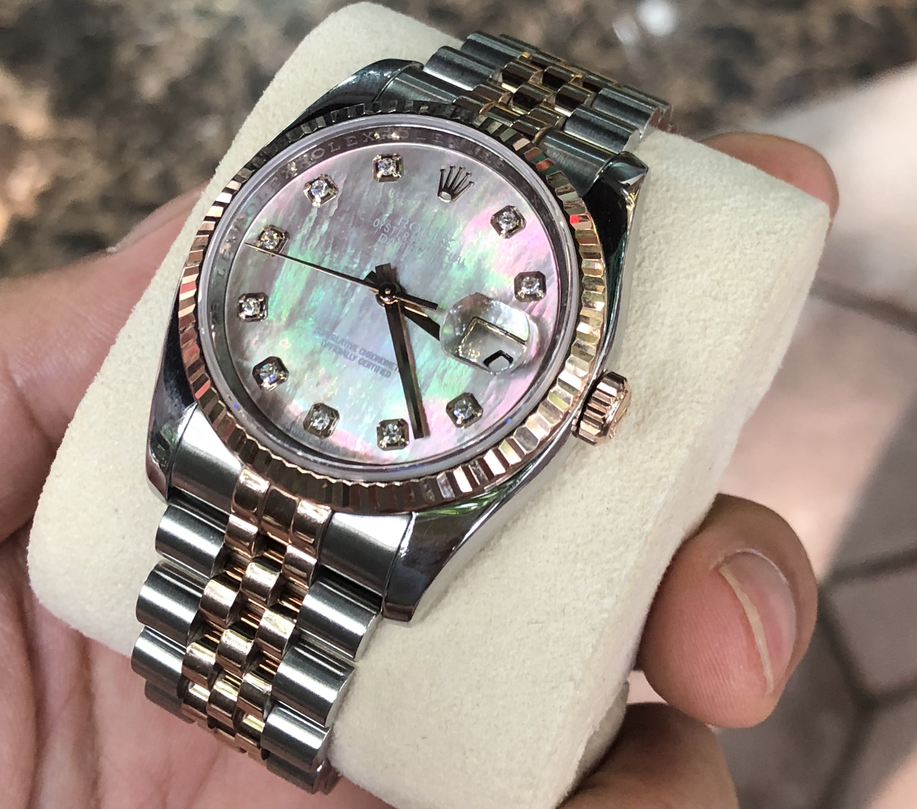Rolex 116231 demi vàng hồng 18k mặt ốc tím đời 2012