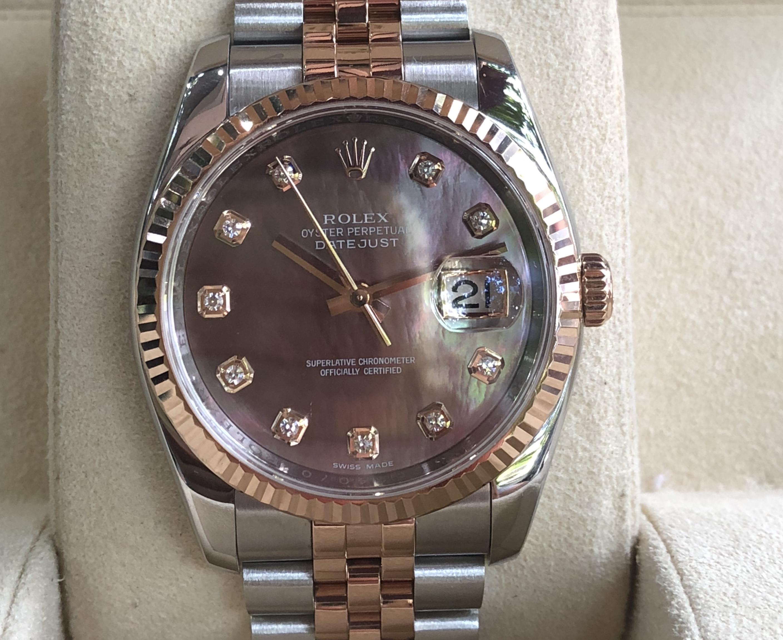 Rolex 116231 mặt ốc tím demi vàng hồng đời 2012
