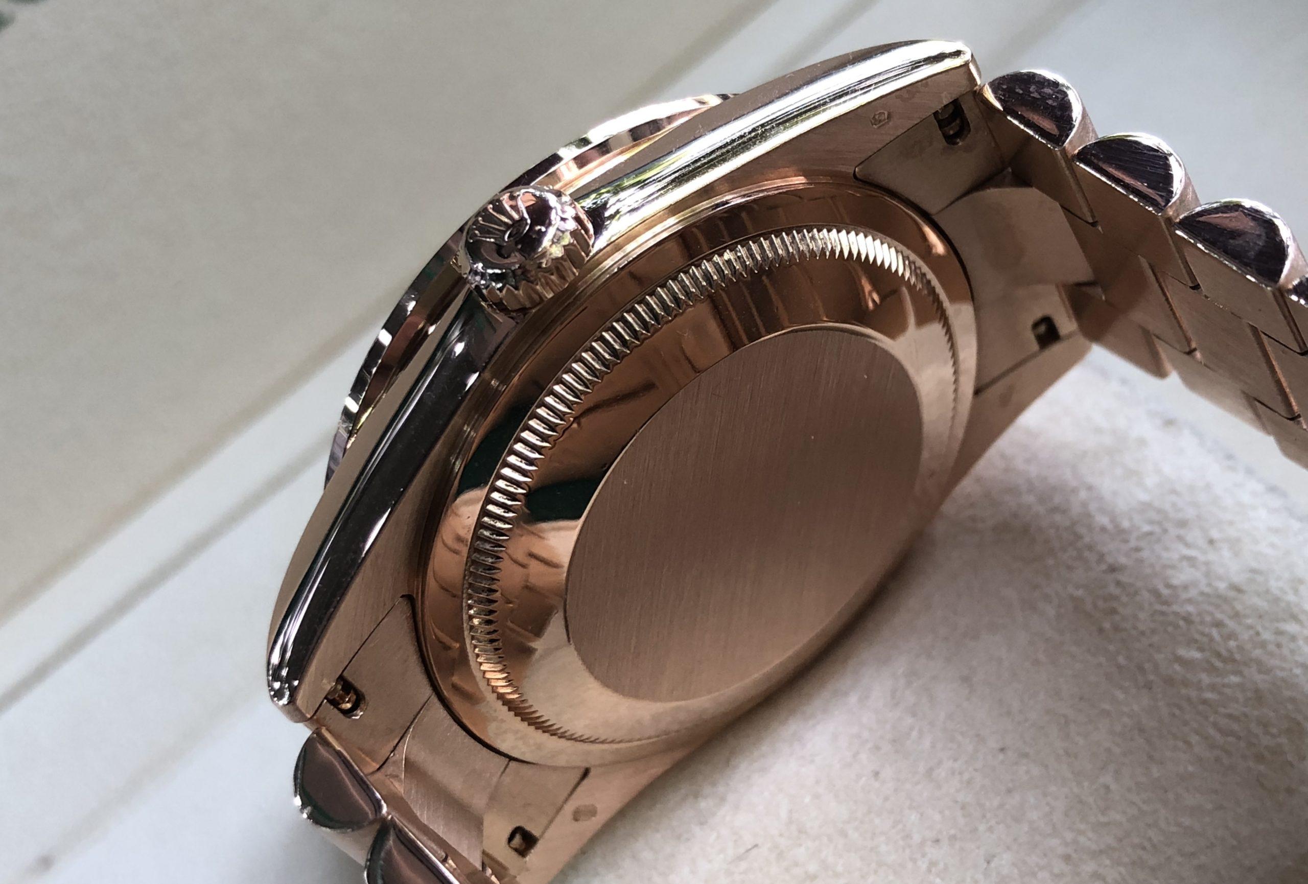 Rolex 118205 vàng hồng 18k niềng kim cương đời 2003/2004