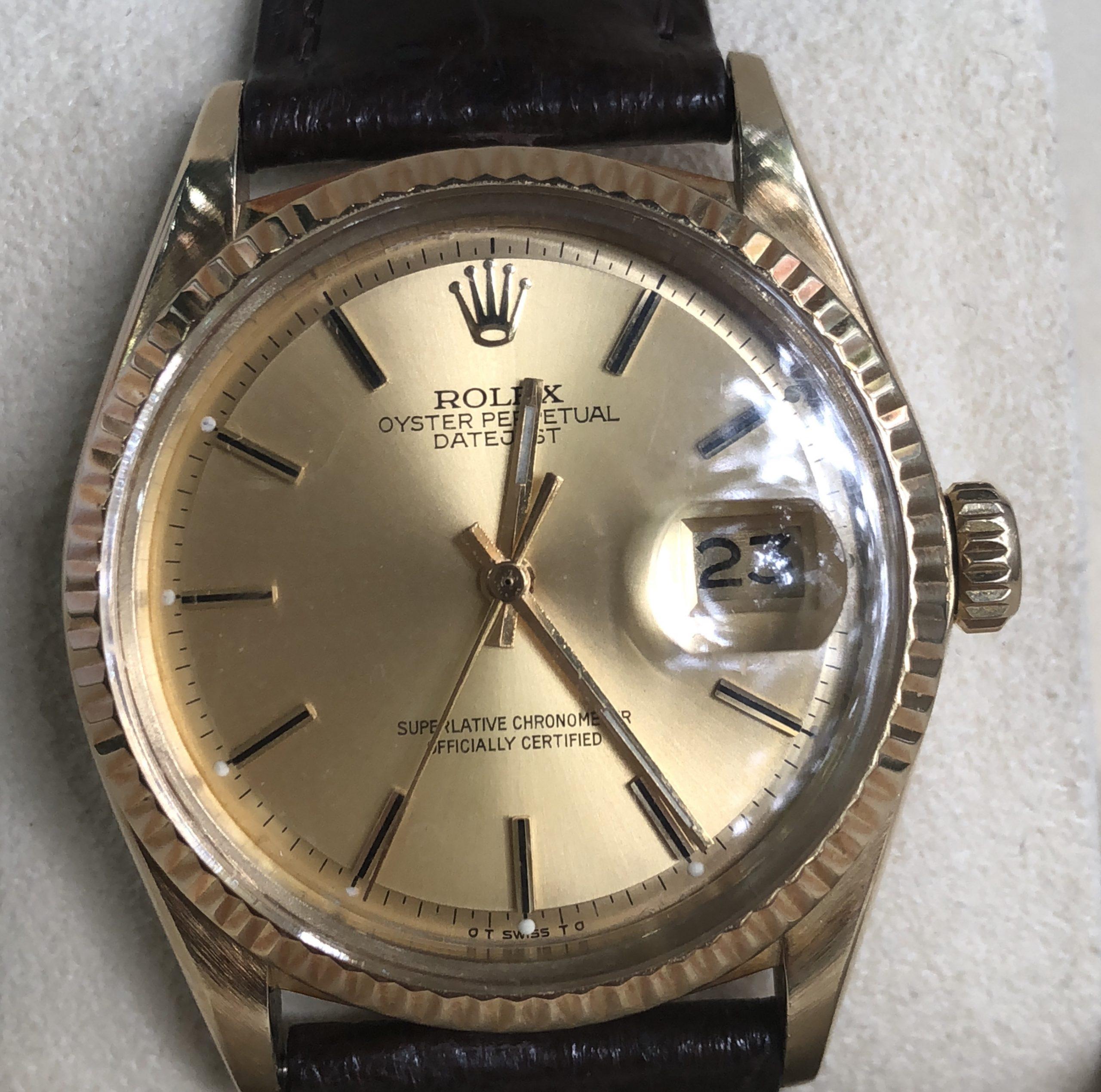 Rolex 1601 mặt tia vàng khối 18k sản xuất năm 1978