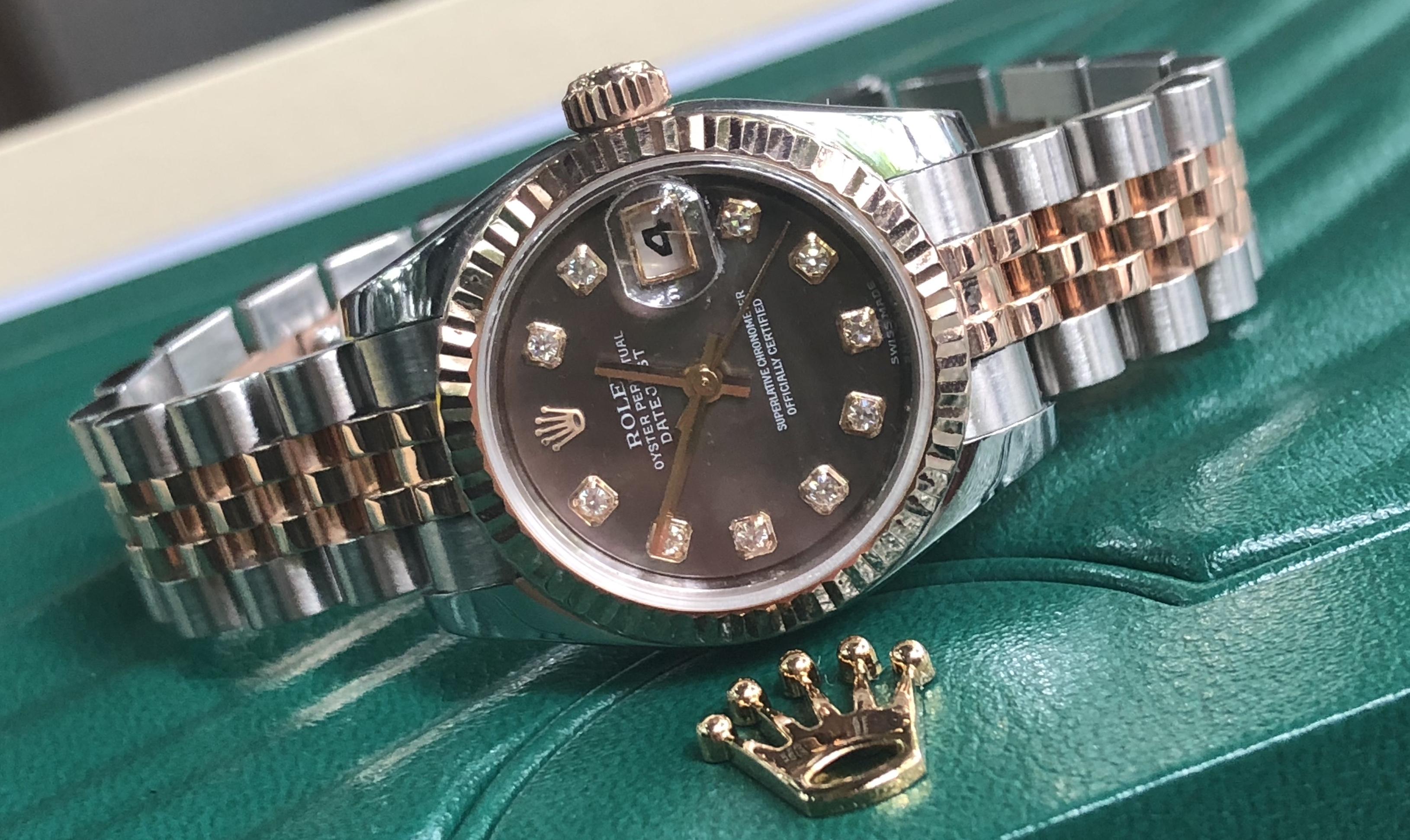 Rolex 179171 demi vàng hồng 18k mặt ốc tím đời 2015