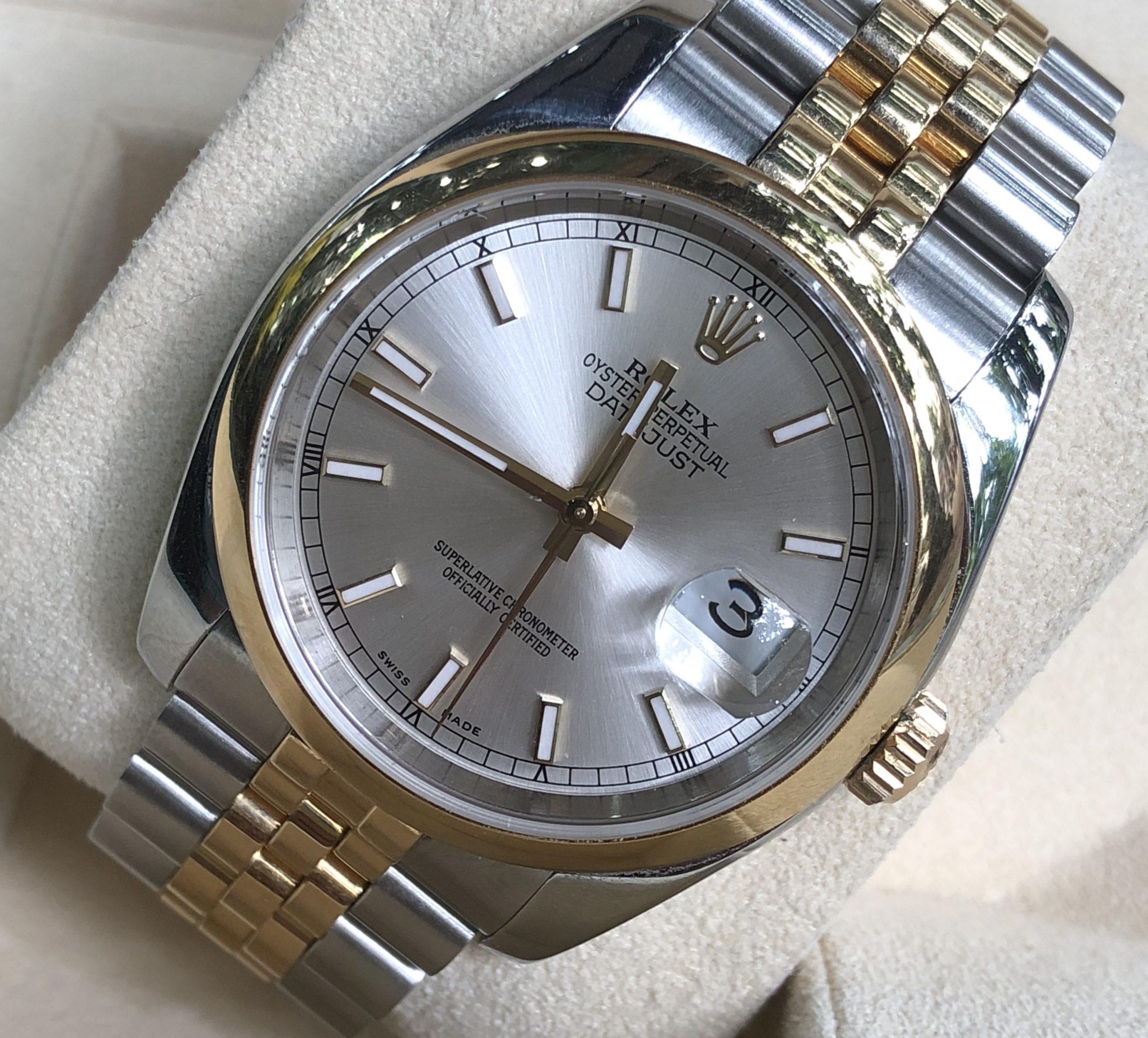 Rolex 116203 mặt trắng tia demi vàng 18k đời 2004/2005