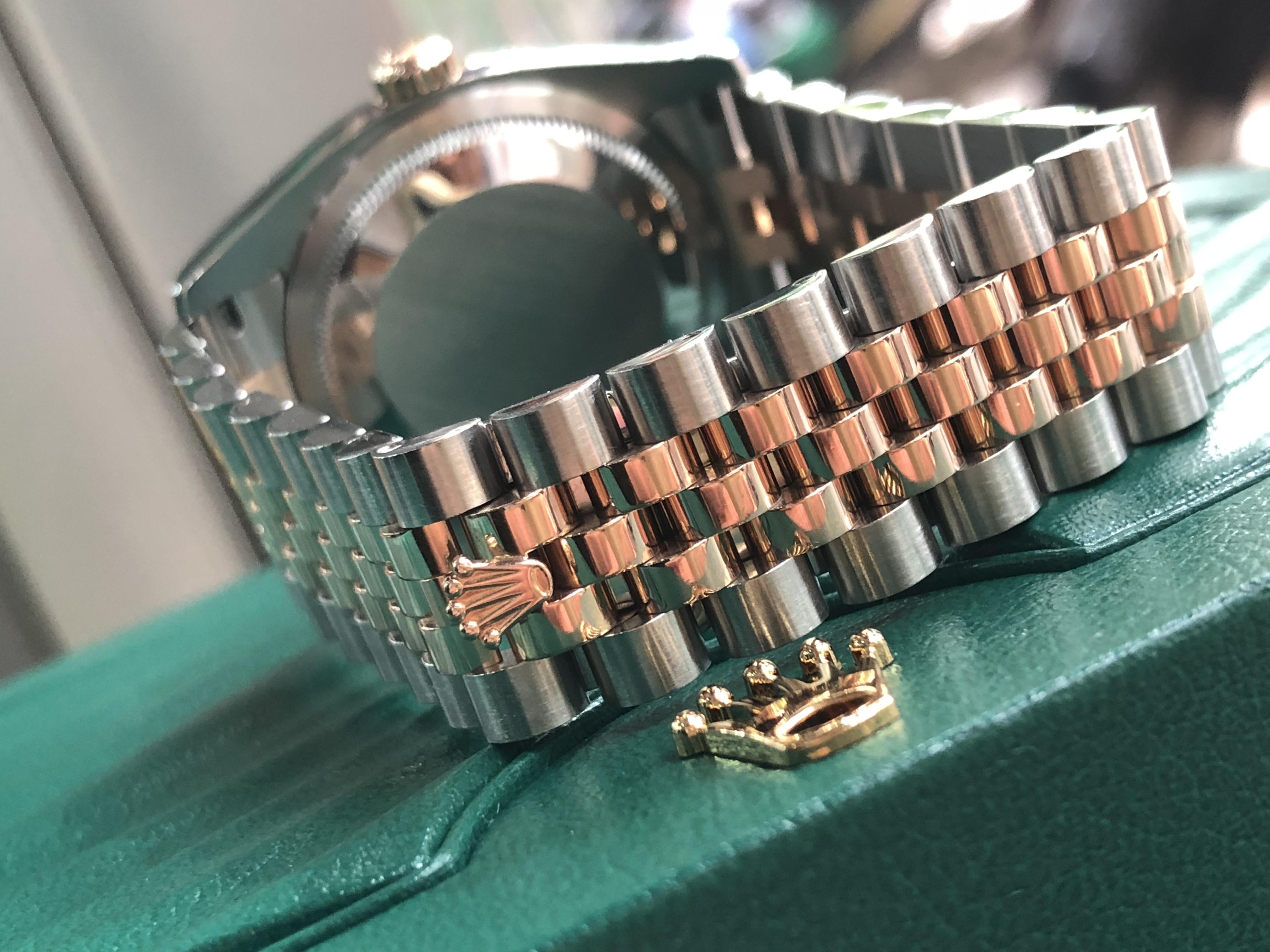 Rolex 116231 mặt vi tính đen demi vàng hồng 18k đời 2011