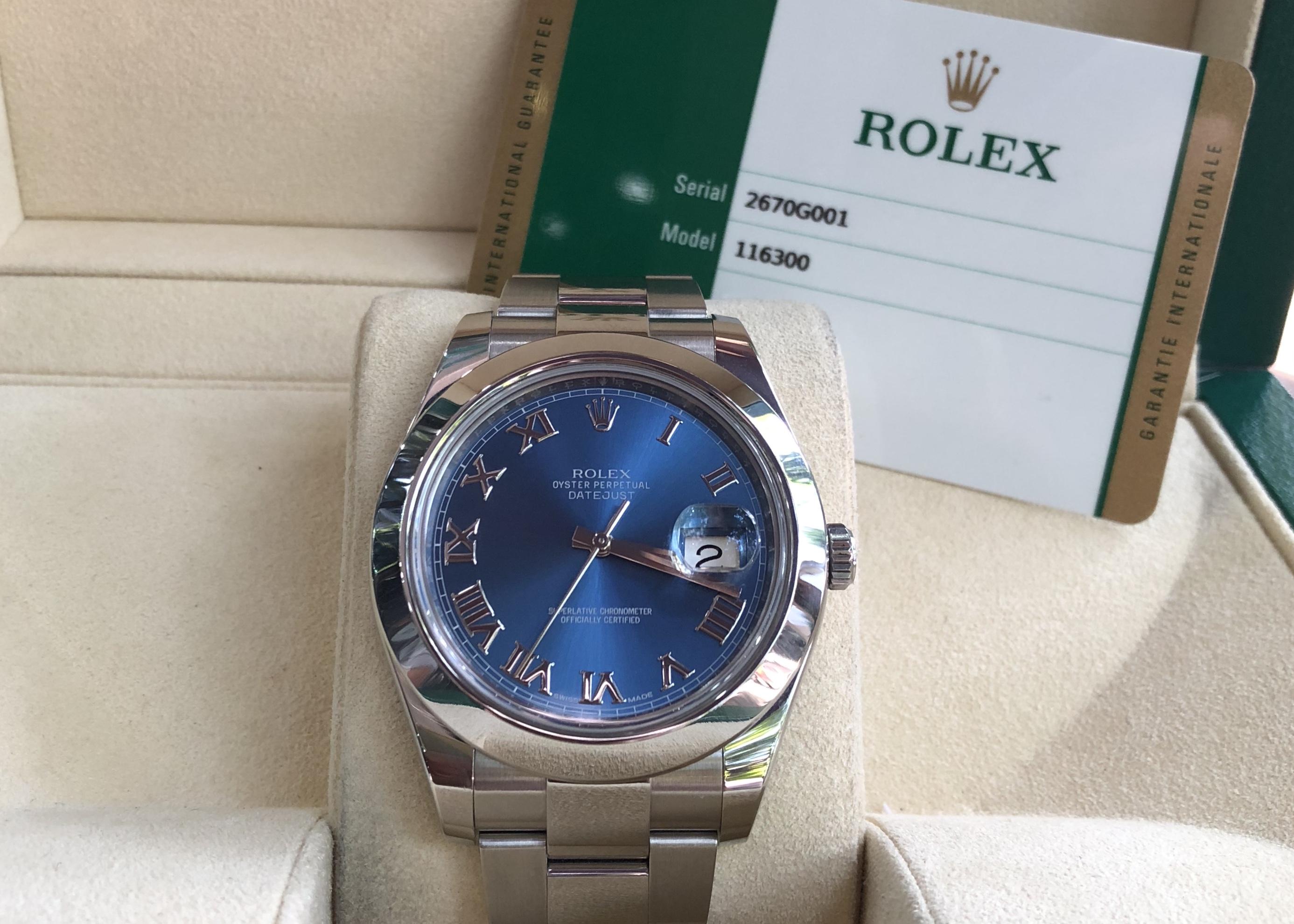 Rolex 116300 mặt xanh cọc số la mã sản xuất năm 2017