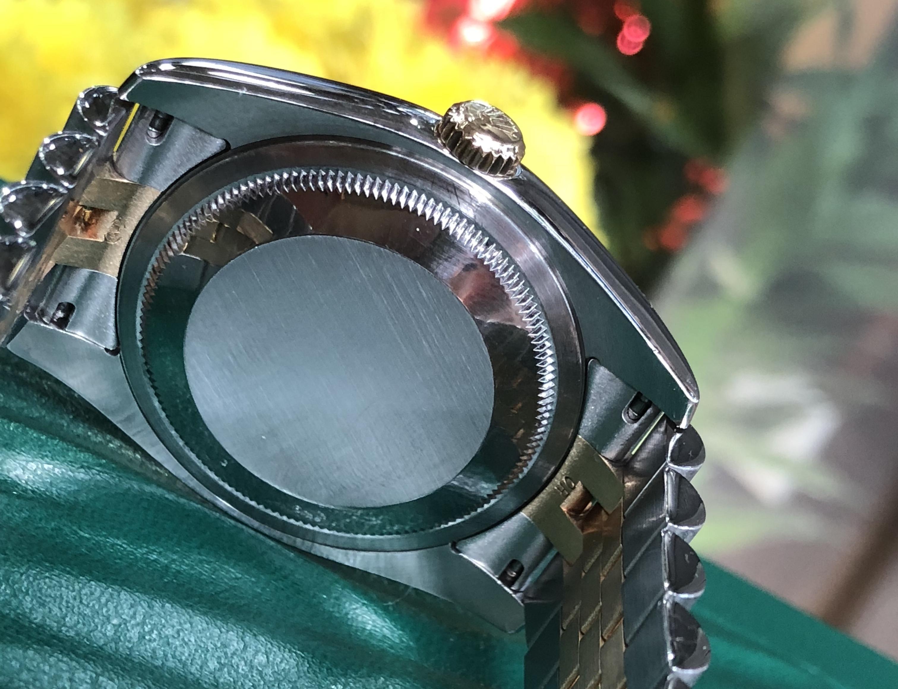 Rolex 116203 demi vàng 18k mặt vân cọc số kim cương