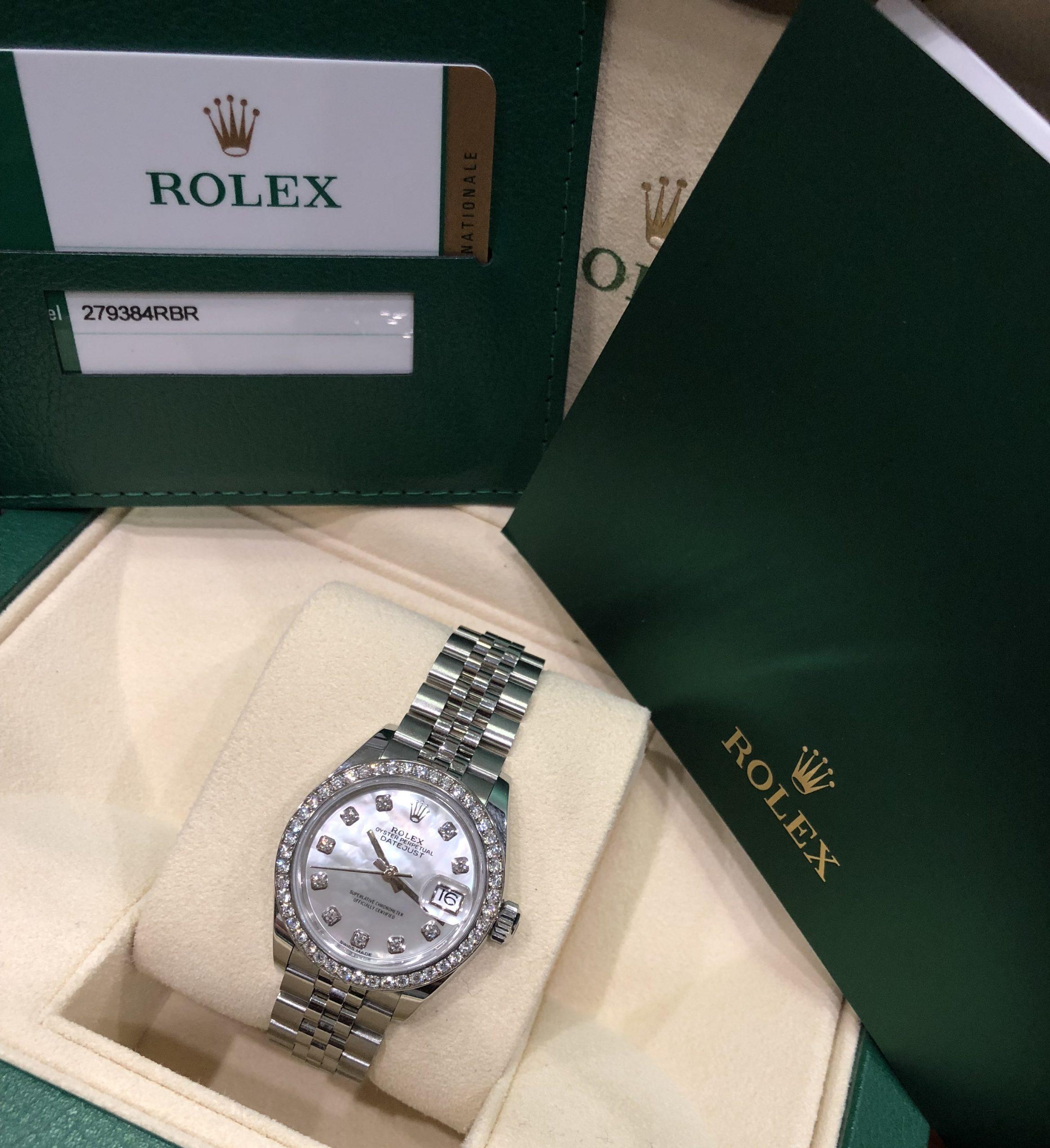 Rolex nữ 279383RBR mặt ốc niềng kim cương