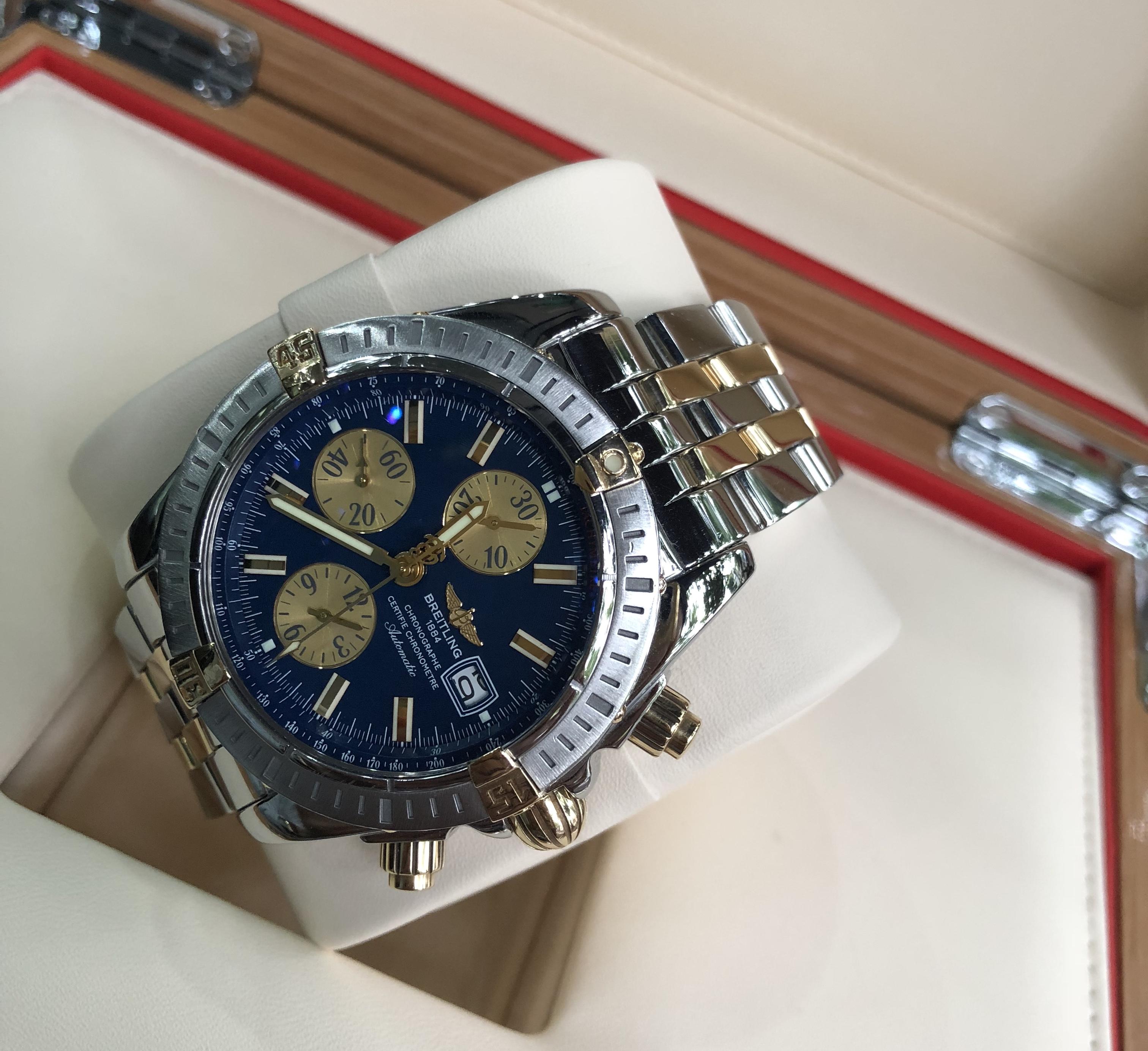 Breitling Evolution 43mm Chronograph B13356 mặt xanh
