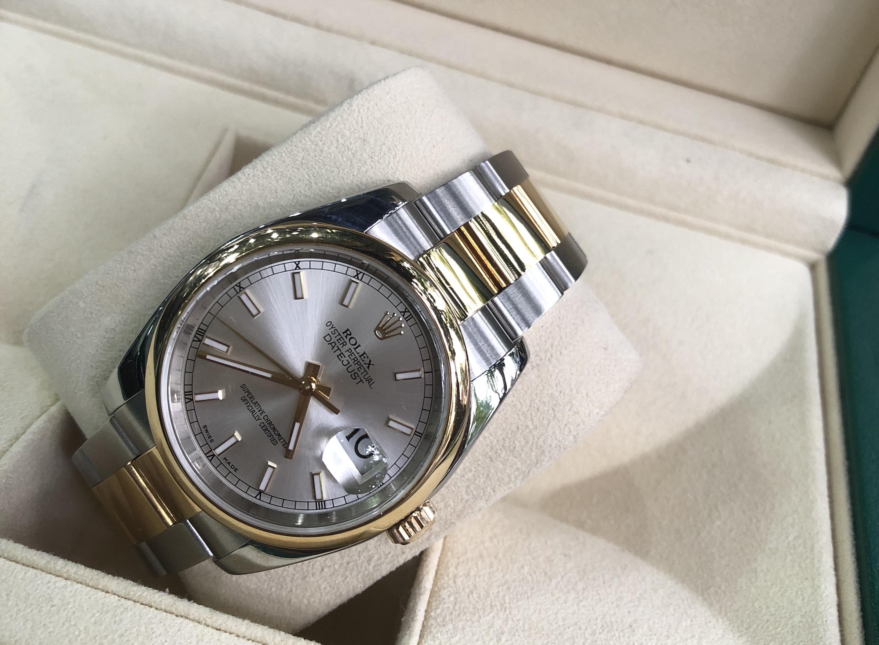 Rolex 116203 mặt trắng tia demi vàng khối 18k