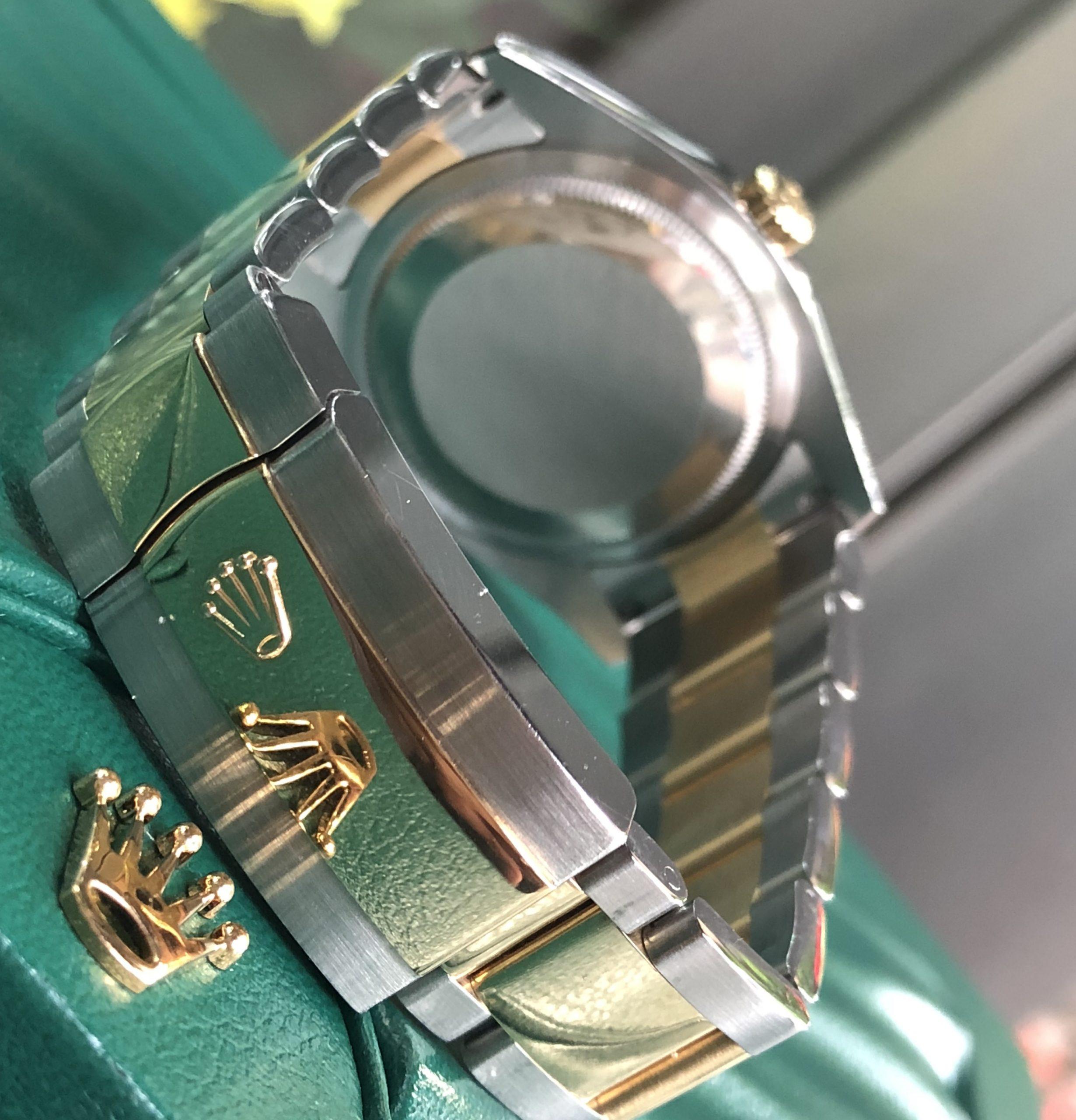 Rolex 116203 mặt xanh hoa đào demi vàng 18k đời 2016
