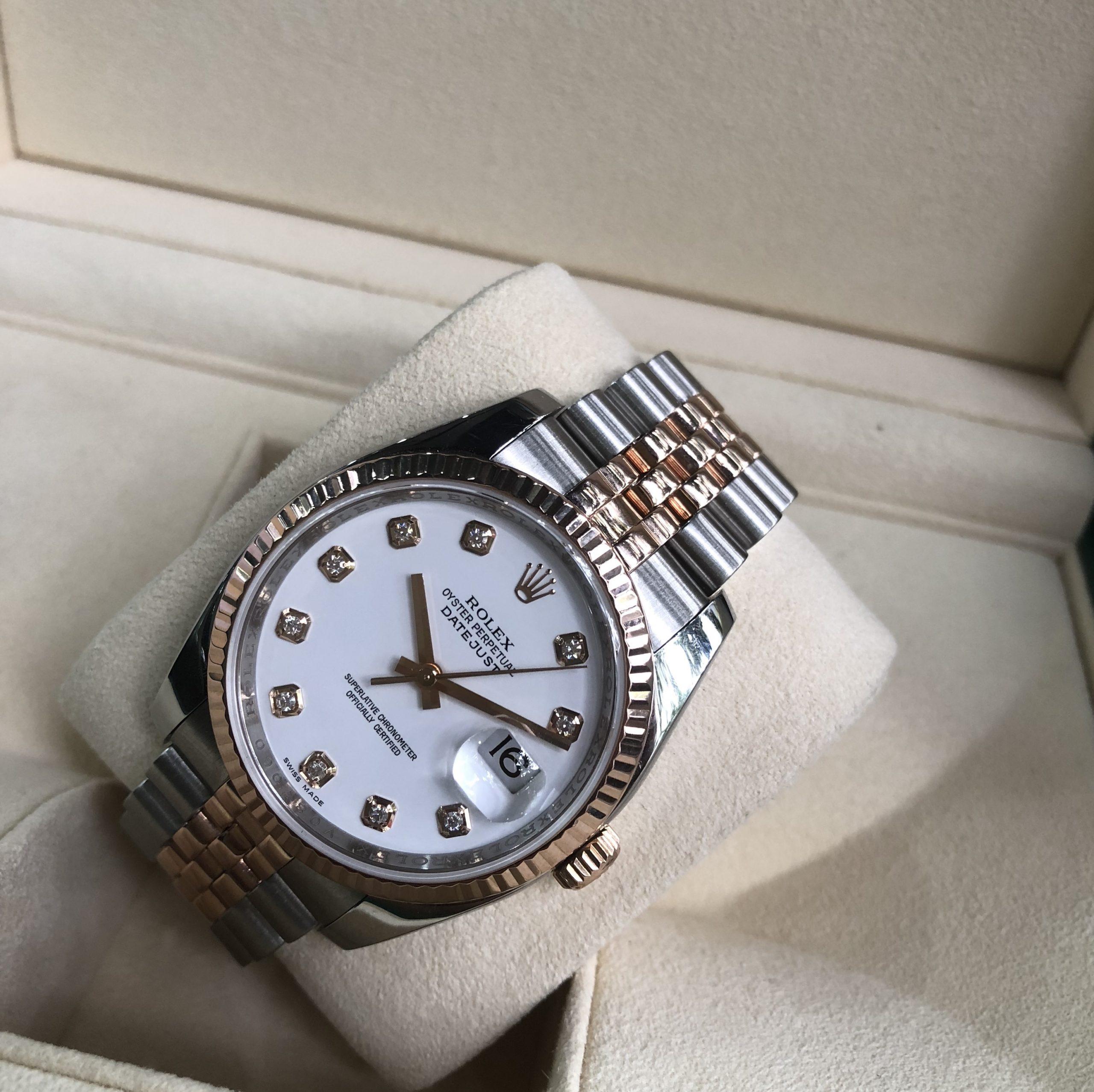 Rolex 116231 mặt trắng men demi vàng hồng 18k đời 2011