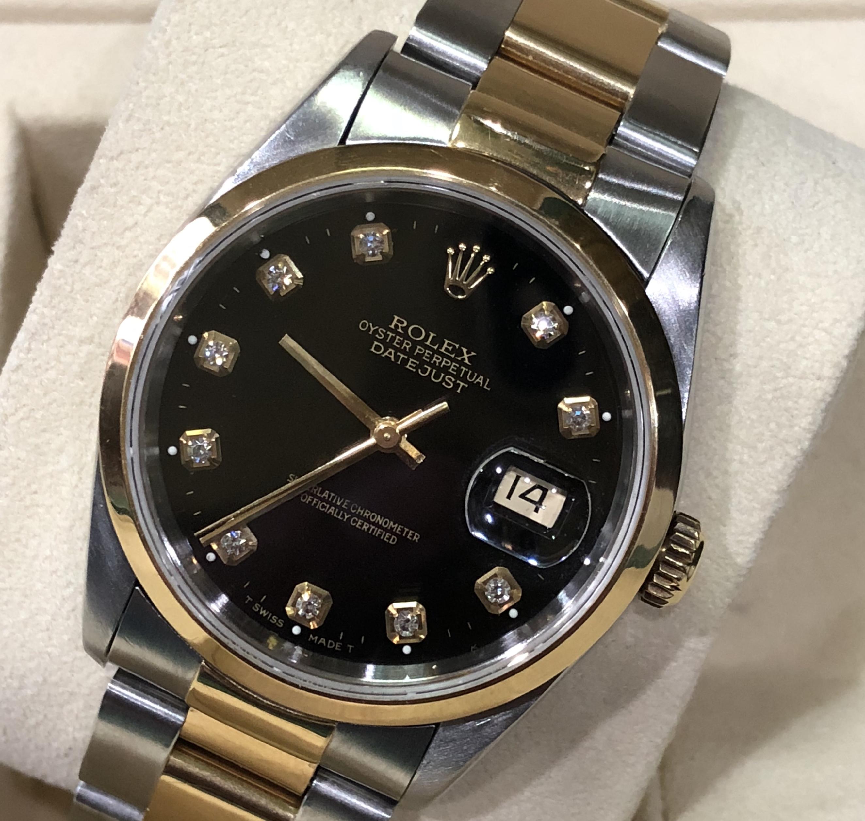 Rolex 16203 mặt độ kim cương demi vàng 18k đời 1996