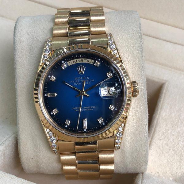 olex 18338 mặt xanh cọc số kim cương vàng khối 18k đời 1991