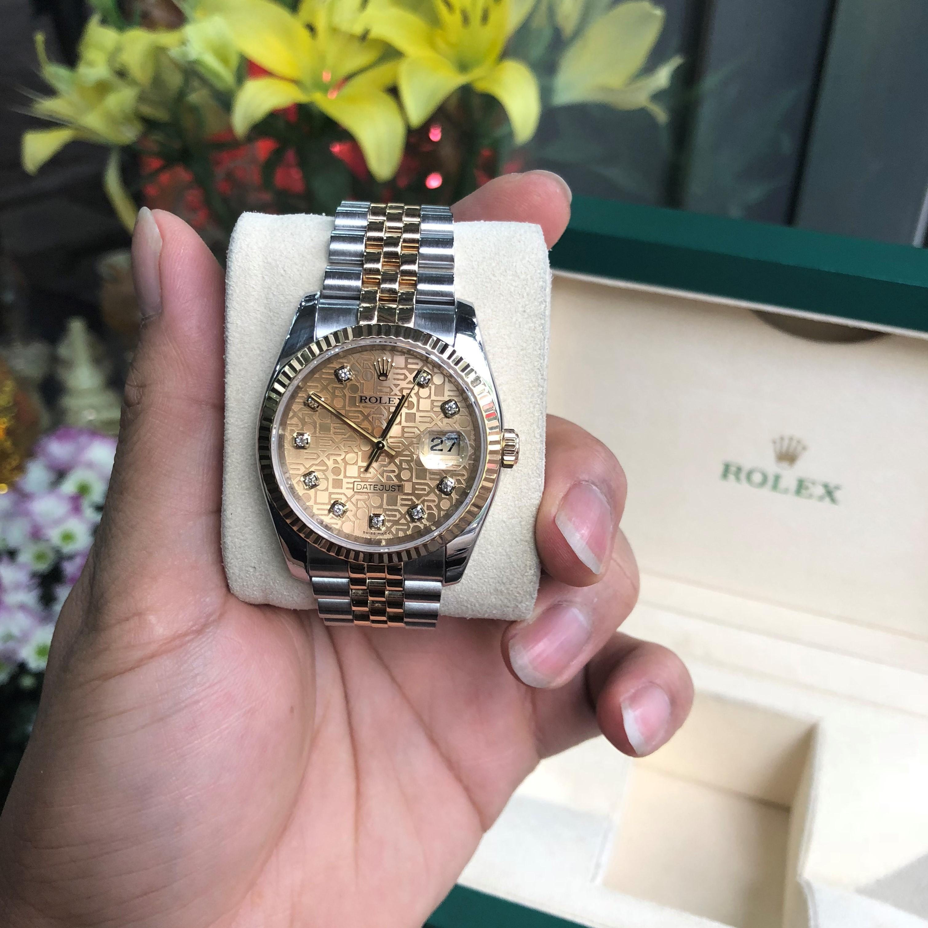 Rolex 116233 mặt vàng vi tính demi vàng 18k đời 2008