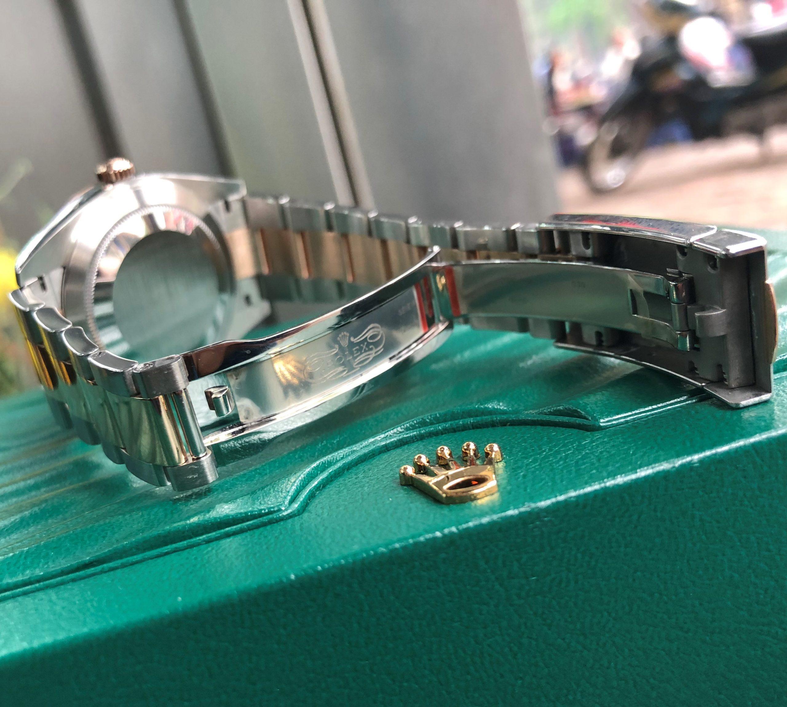 Rolex 126331 cọc số kim cương demi vàng hồng 18k Fullbox 2018