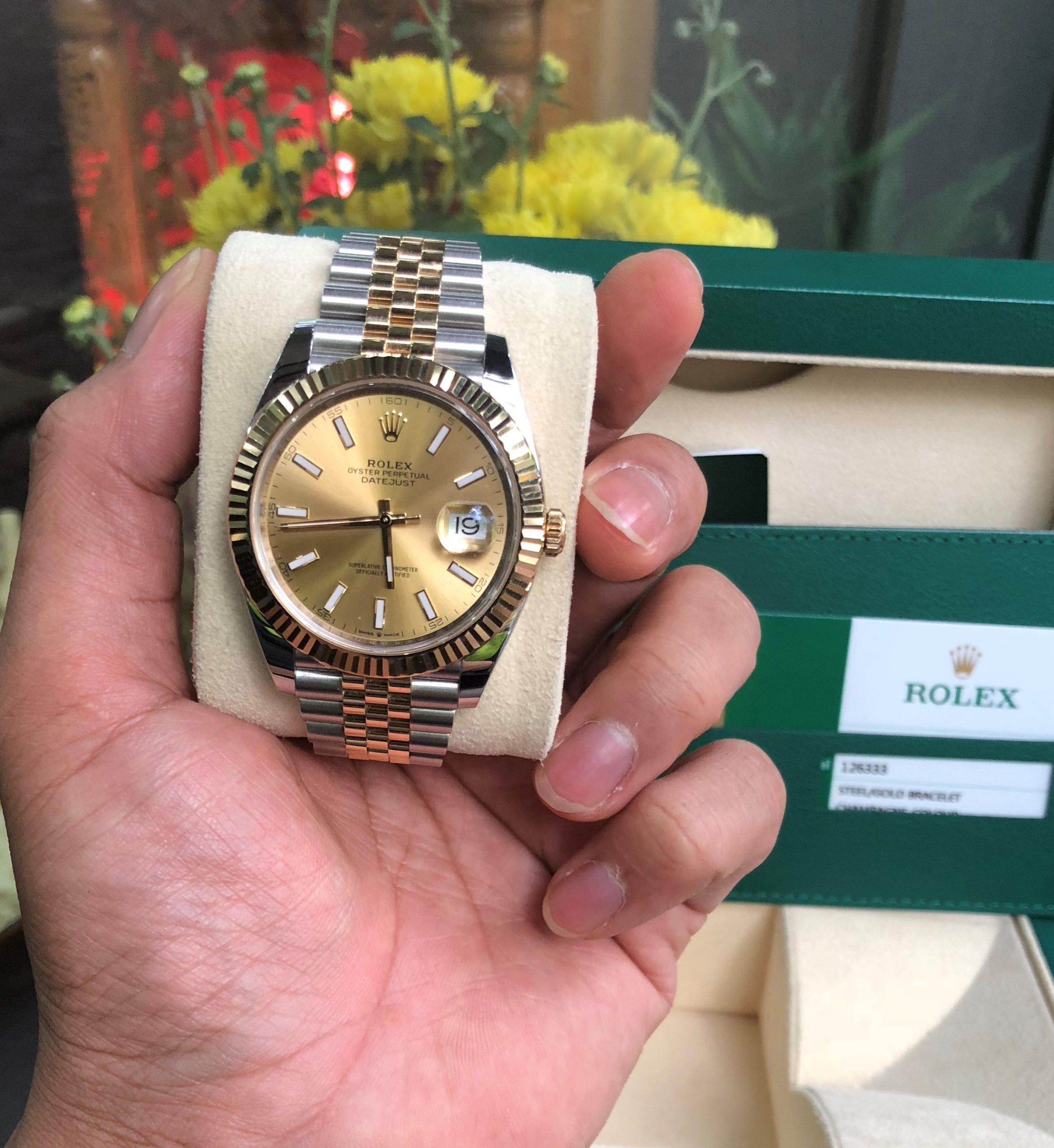 Rolex 126333 mặt vàng tia demi vàng 18k Fullbox 2018