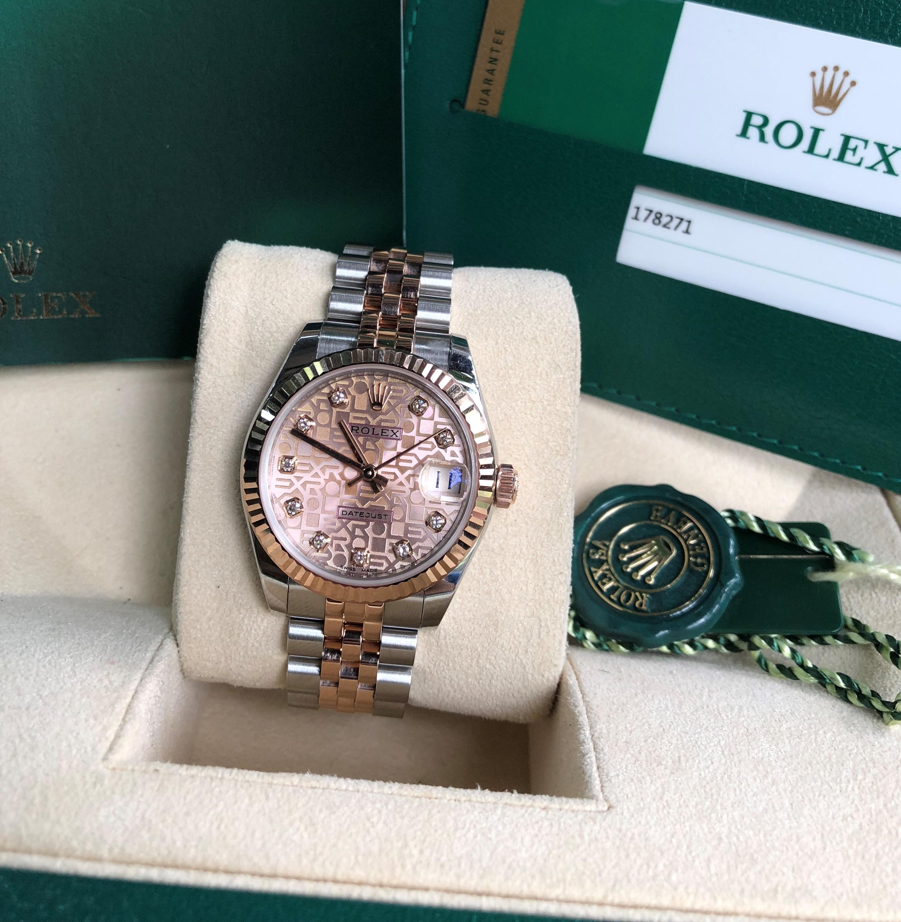 Rolex 178271 mặt vi tính phấn hồng cọc kim cương fullbox 2018