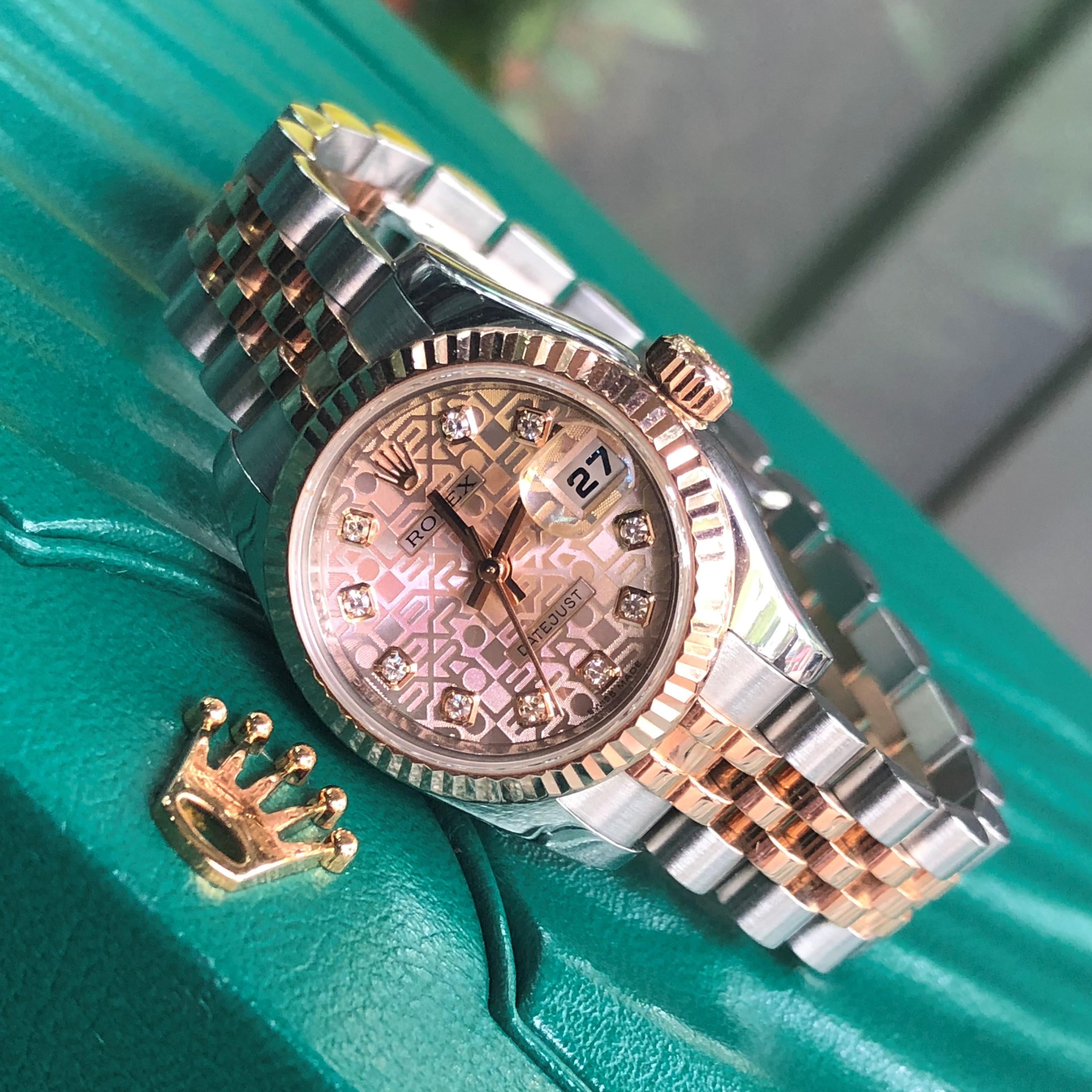 Rolex 179171 mặt vi tính demi vàng hồng 18k Fullbox 2014