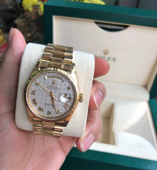 Rolex 18248 vàng khối 18k mặt trắng vân đời 1991