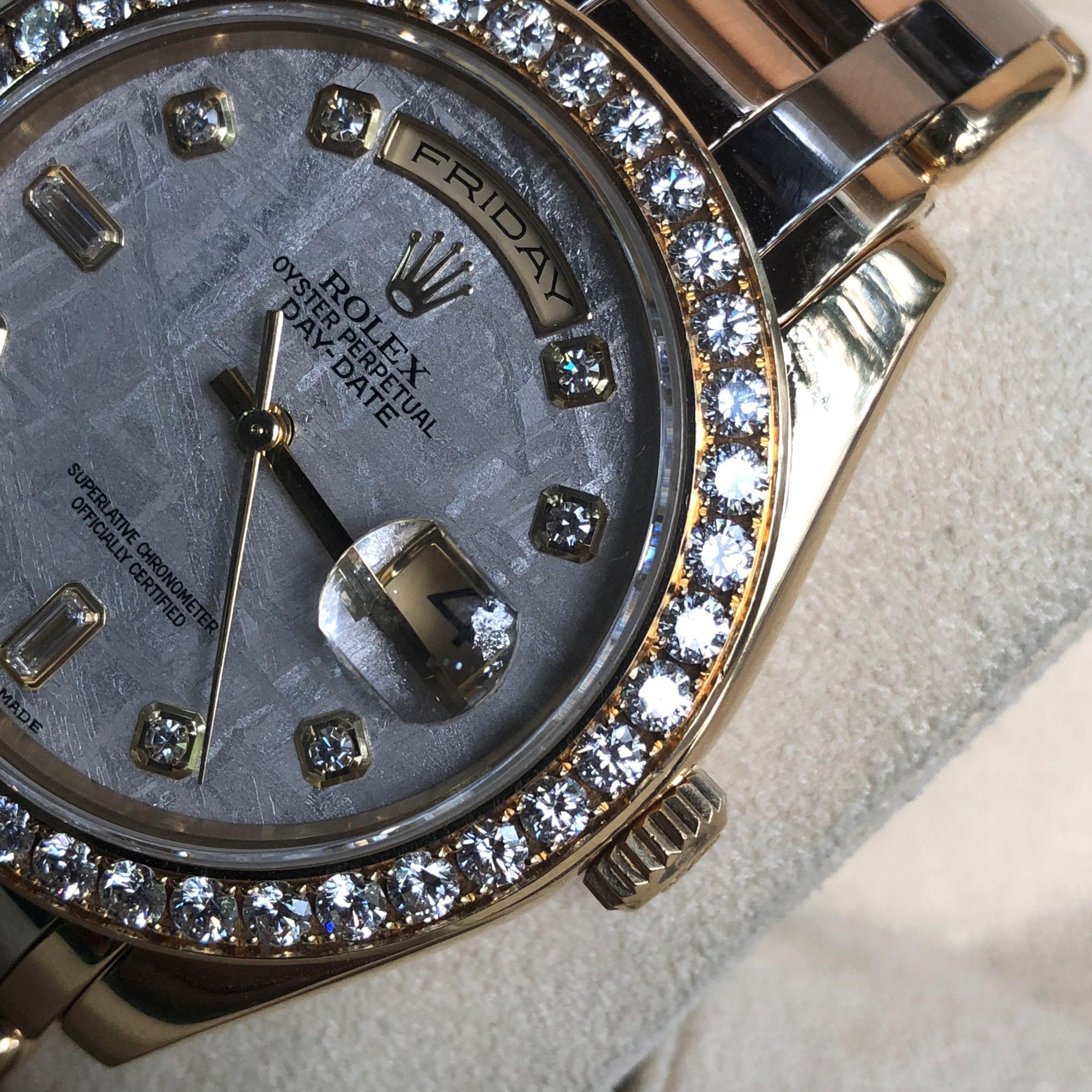 Rolex 18948 mặt thiên thạch niềng kim cương size 39mm đời 2004