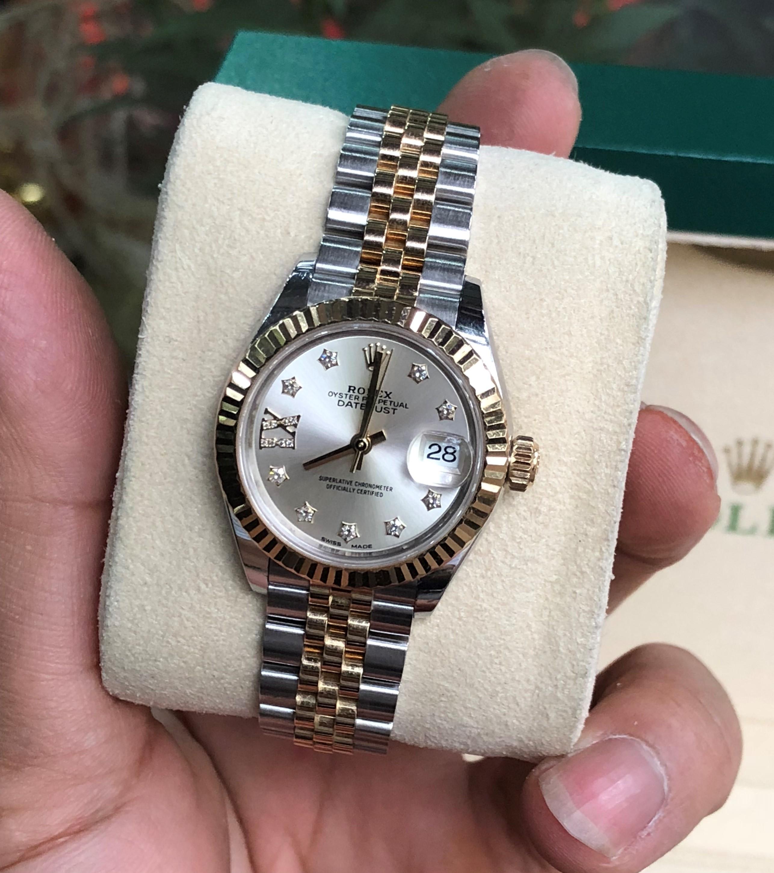 Rolex 279173 nữ mặt trắng cọc số kim cương demi vàng 18k