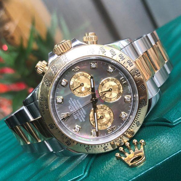 Rolex daytona 116523 mặt ốc tím demi vàng Fullbox 2018