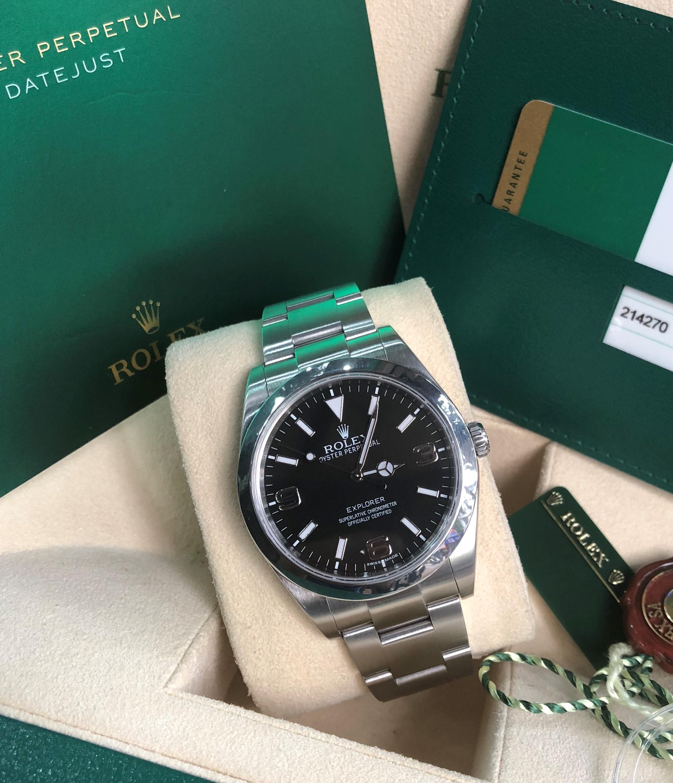 Rolex Oyster Perpetual Explorer 214270-0001 mặt đen Fullbox 2015