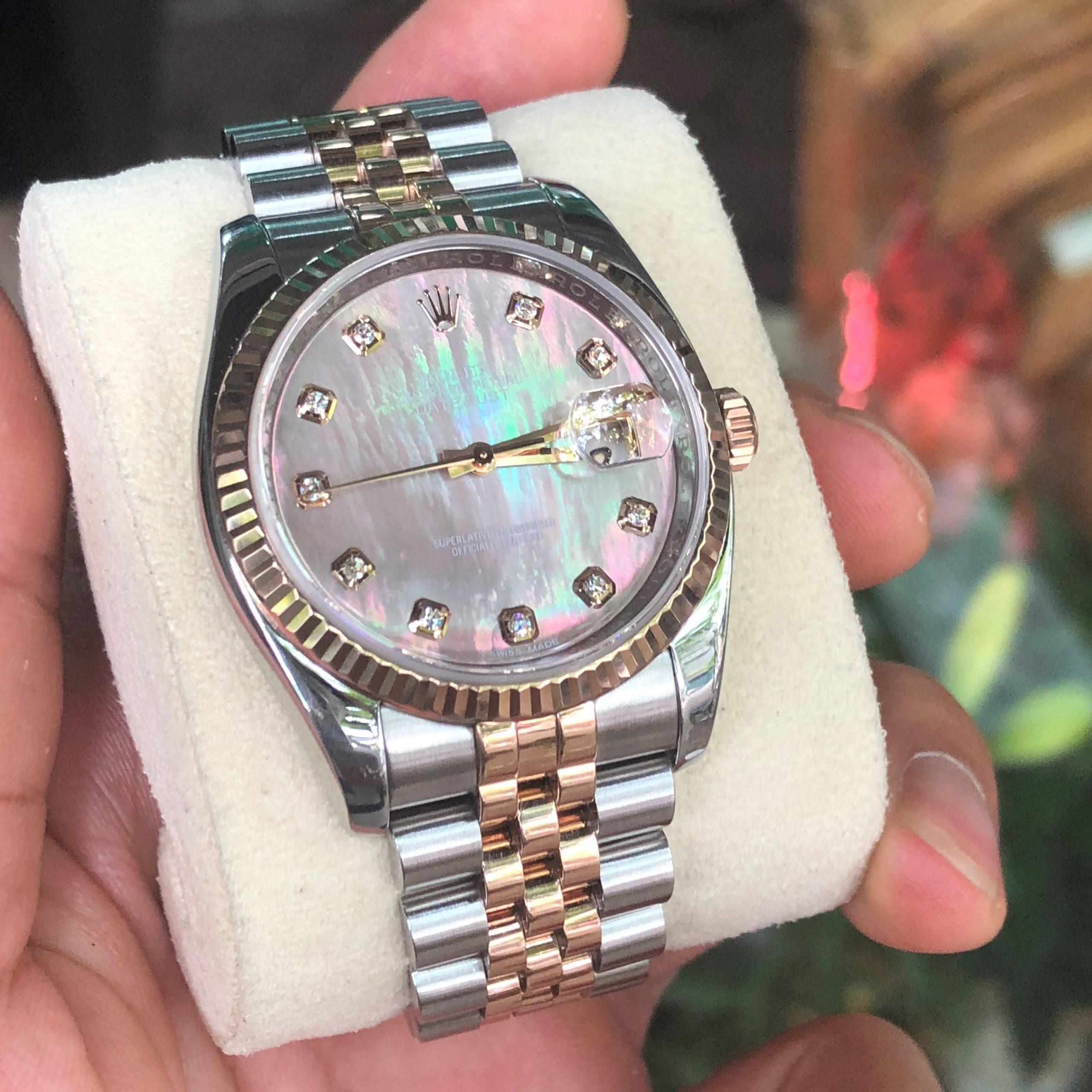 Rolex 116231 mặt ốc tím demi vàng 18k có thẻ mềm năm 2018
