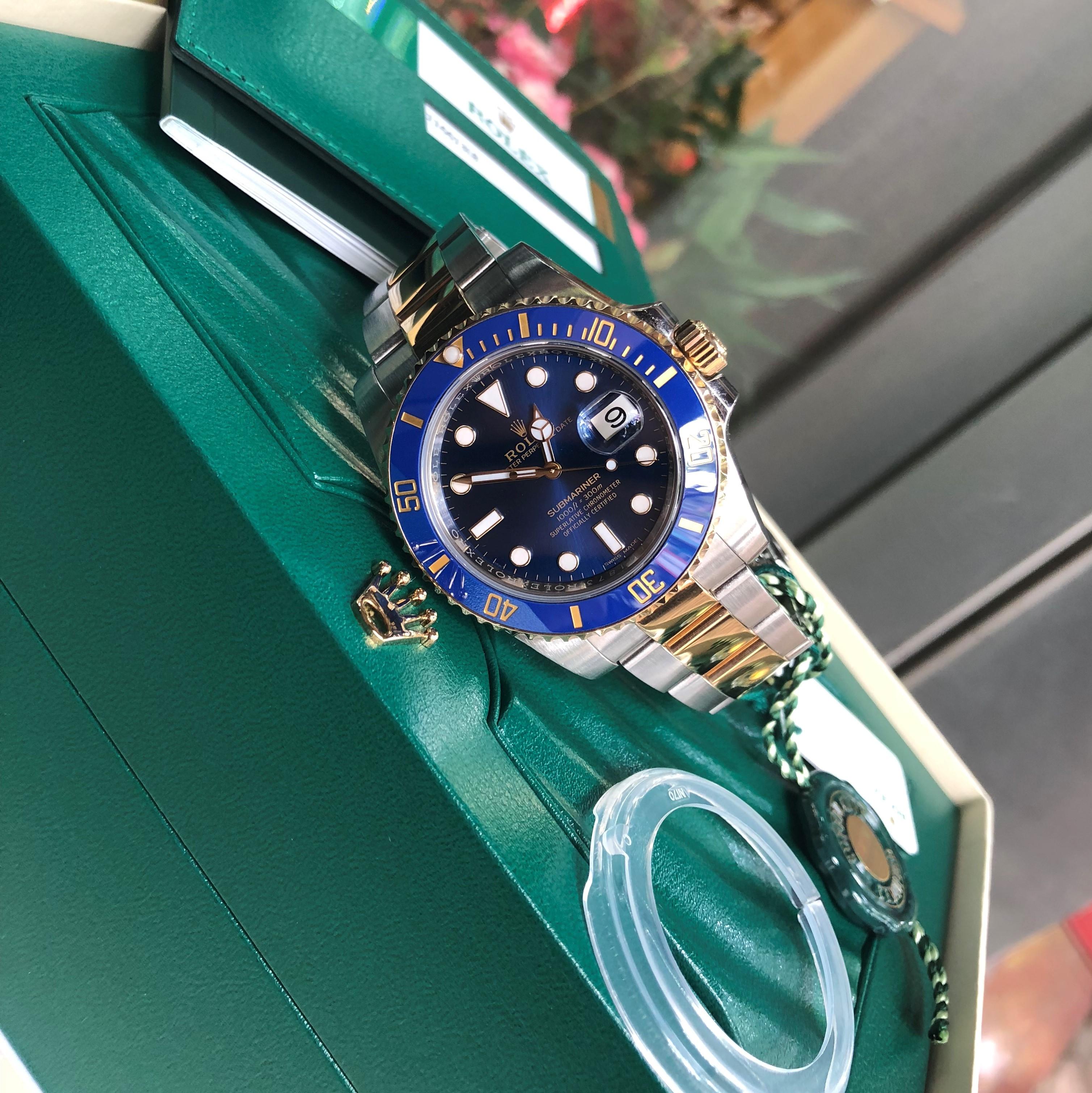 Rolex 116613 mặt xanh dương demi 18k Fullbox đời 2018