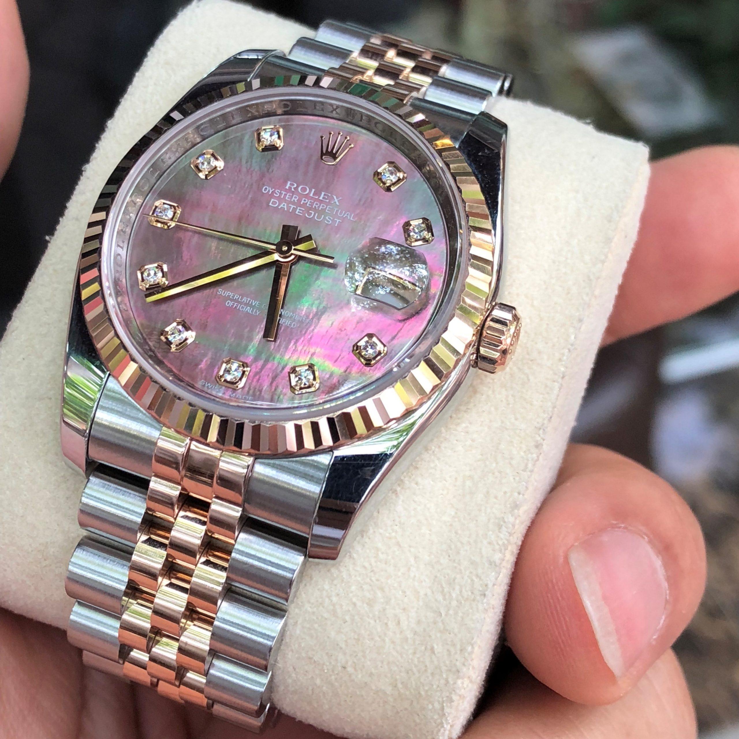 Rolex 116231 mặt ốc tím demi vàng hồng 18k Fullbox 2007