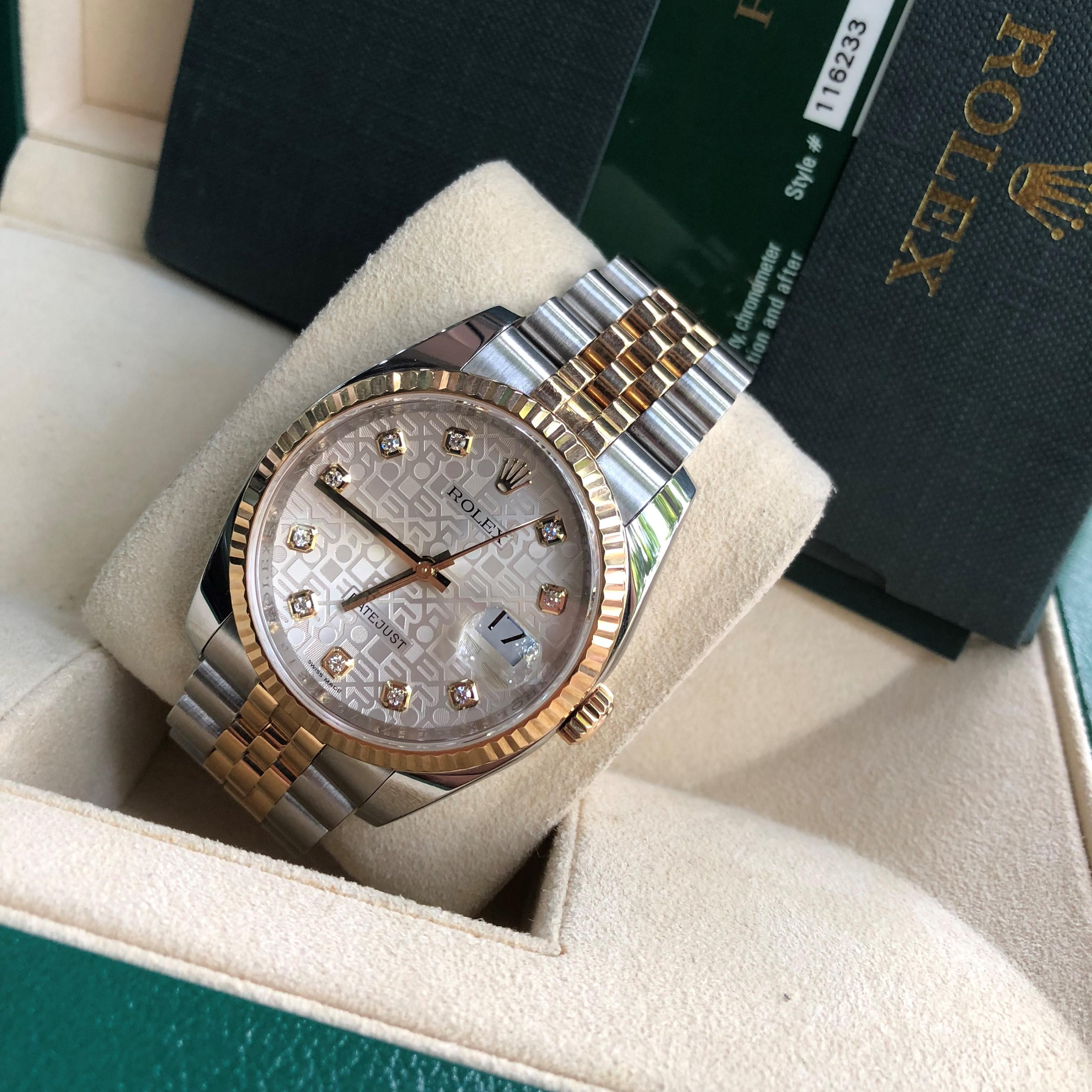Rolex 116233 mặt vi tính demi vàng 18k Fullbox 2010