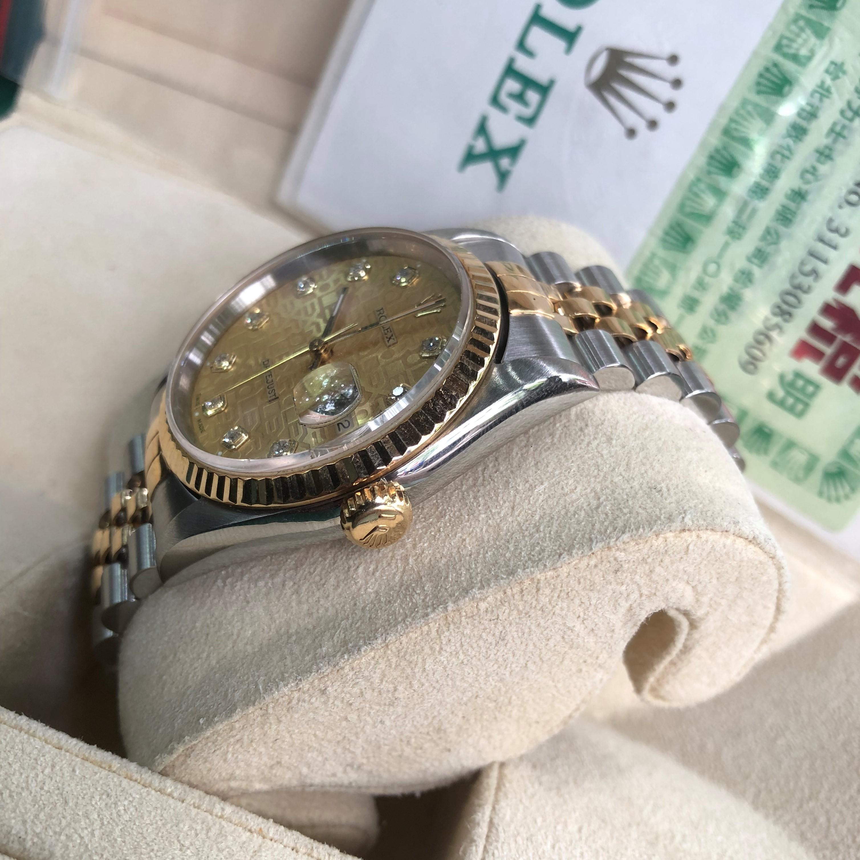 Rolex 16233 mặt vi tính cọc số kim cương demi vàng 18k Fullbox