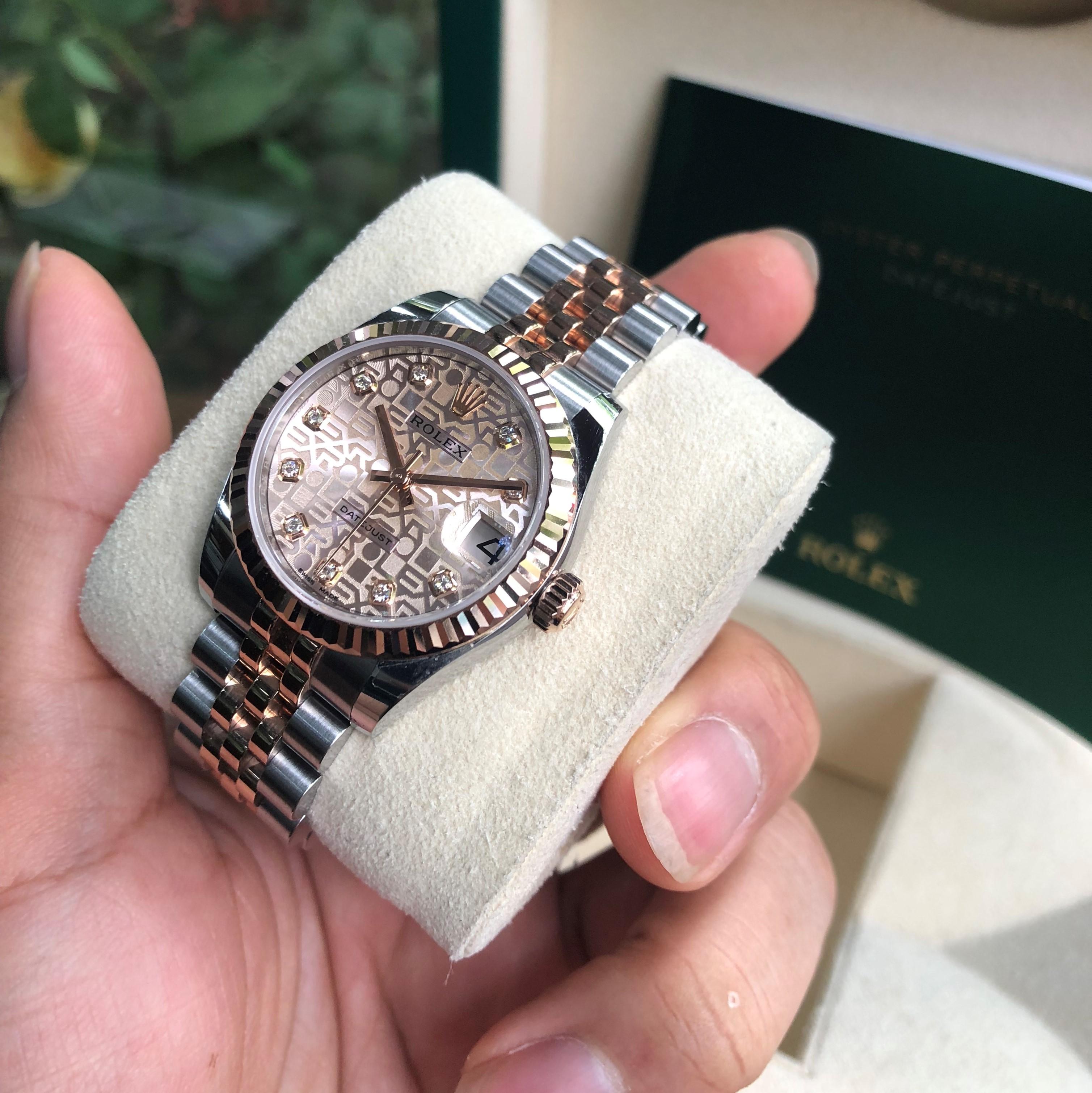 Rolex 178271 mặt vi tính demi vàng hồng siêu lướt