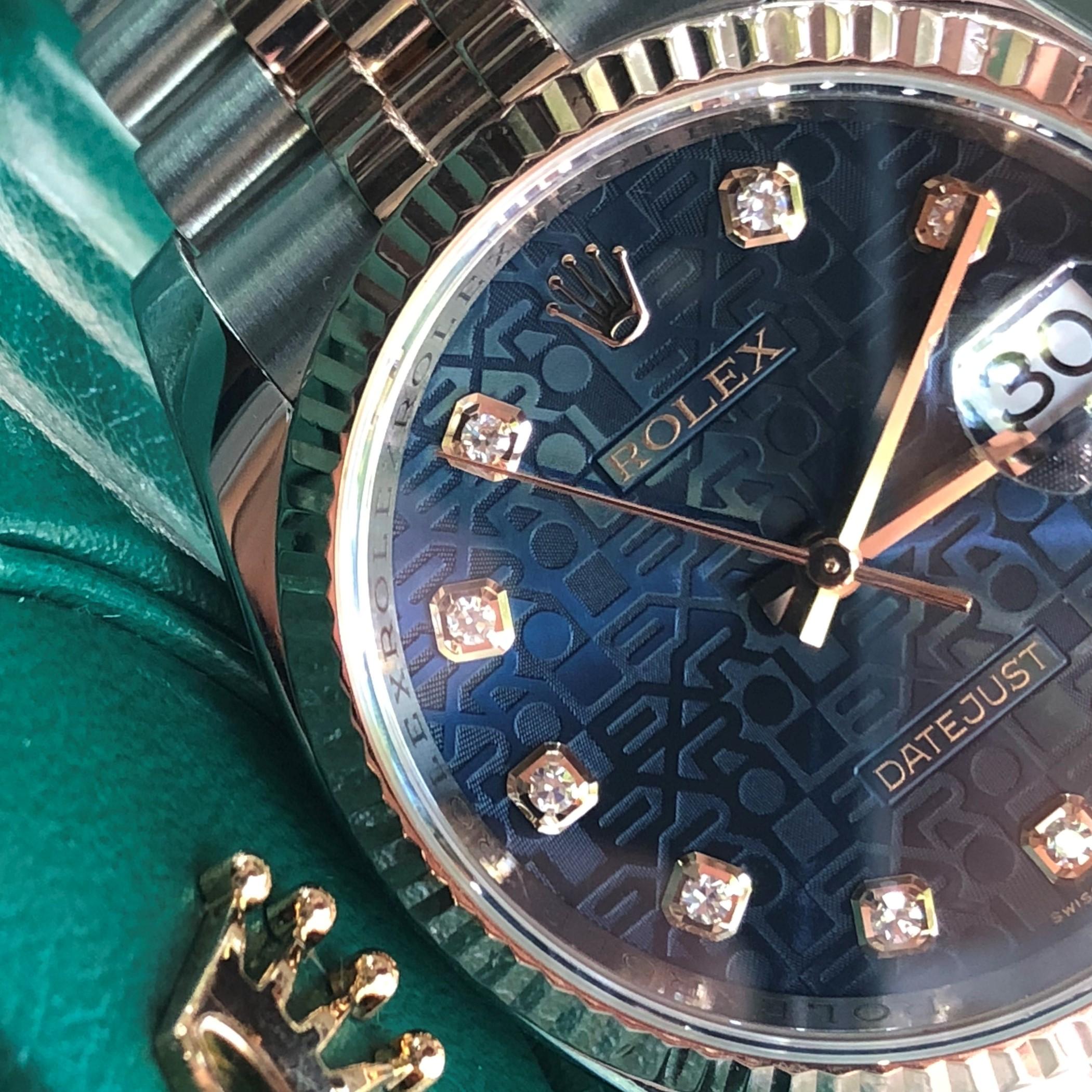 Rolex 116231 mặt vi tính xanh Navy demi vàng hồng size 36mm