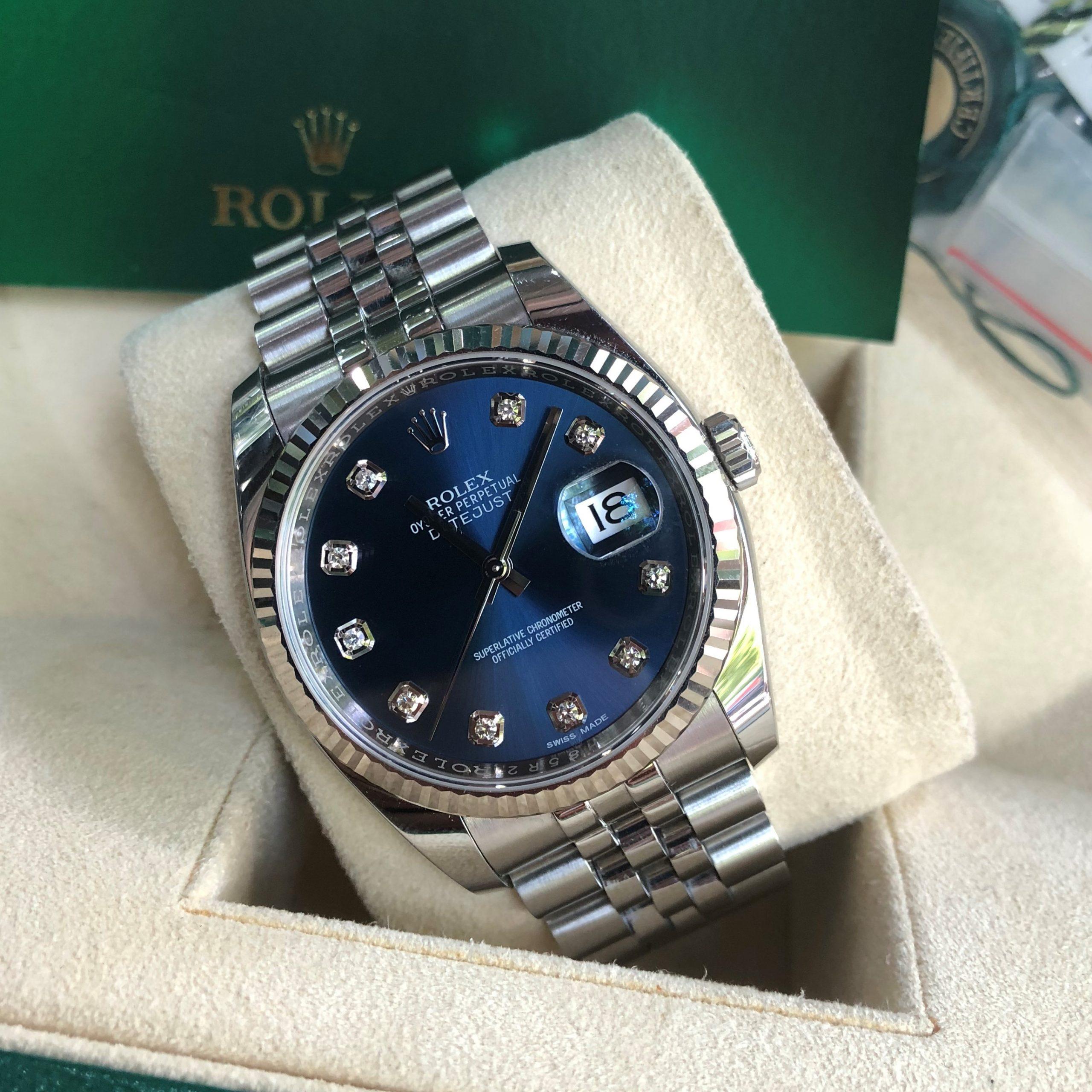 Rolex 116234 mặt xanh Navy cọc số kim cương fullbox 2016