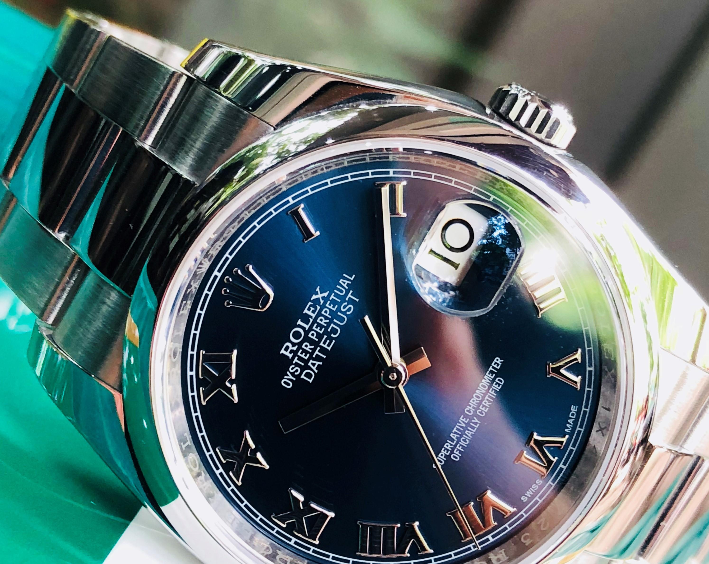 Rolex 116200 thép mặt xanh Navy cọc số La Mã Fullbox 2015