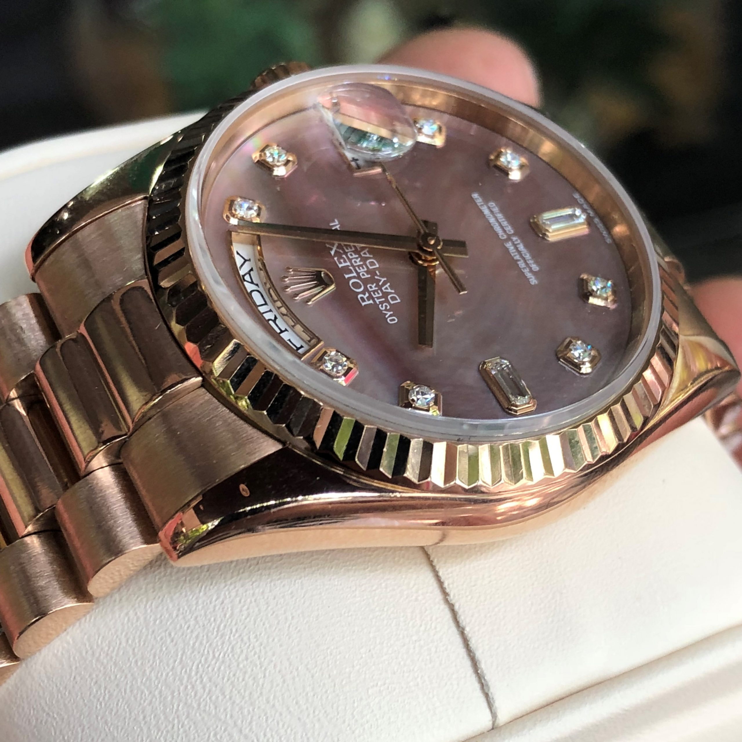 Rolex 118235 mặt ốc tím cọc số kim cương Rose Gold 18k Fullbox 2003