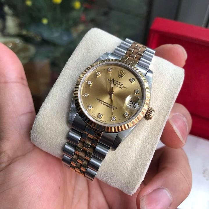 Rolex 68273 mặt tia vàng cọc số kim cương demi 18k fullbox 2001