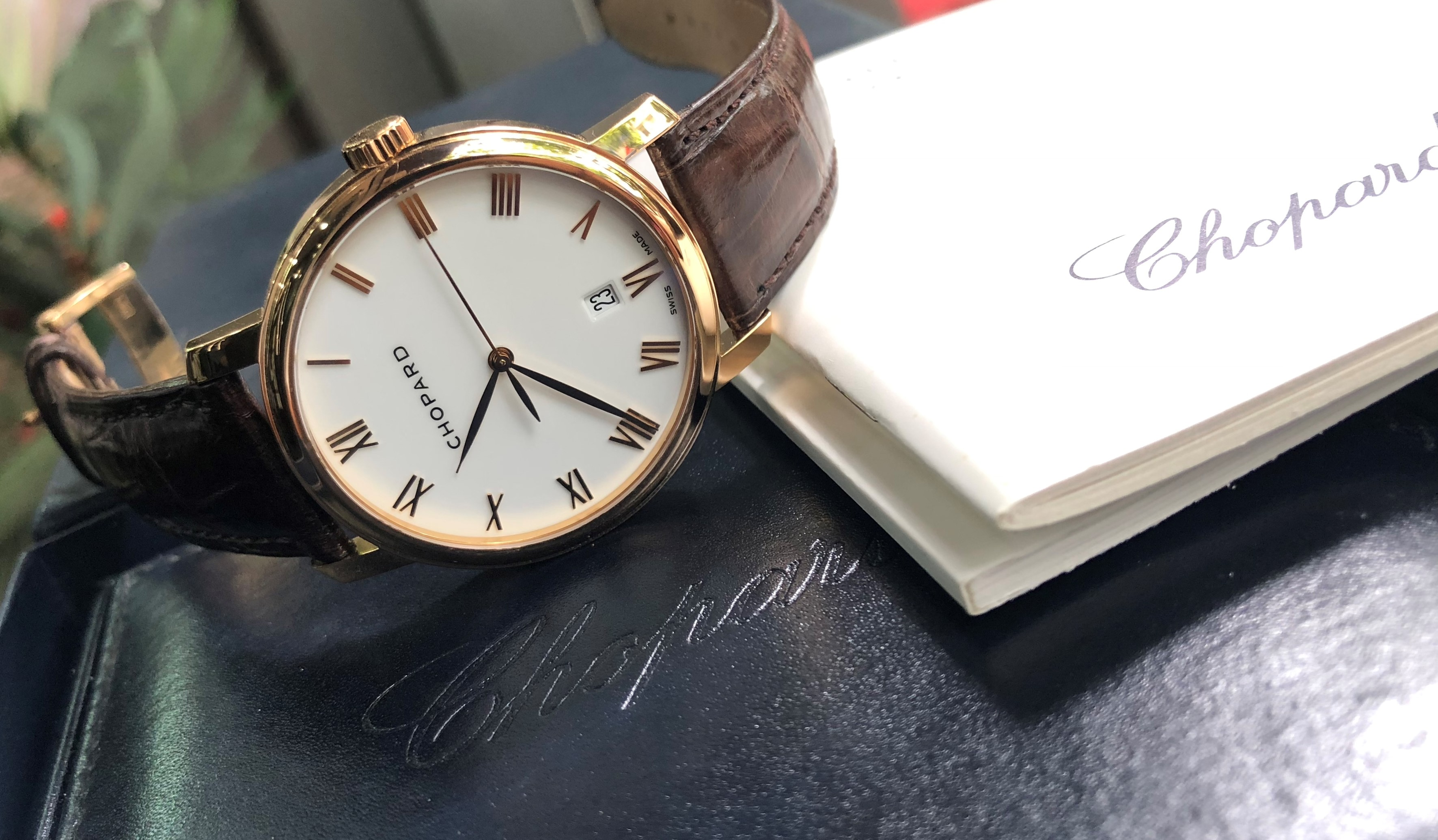 Chopard 1278 mặt trắng tráng men vàng hồng 18k Size 40mm