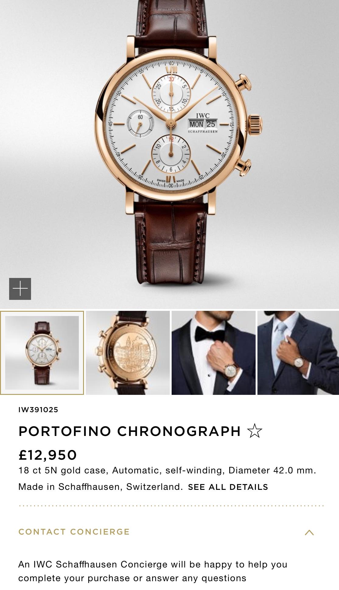 IWC Portofino Chronograph mặt trắng vàng hồng 18k size 42mm