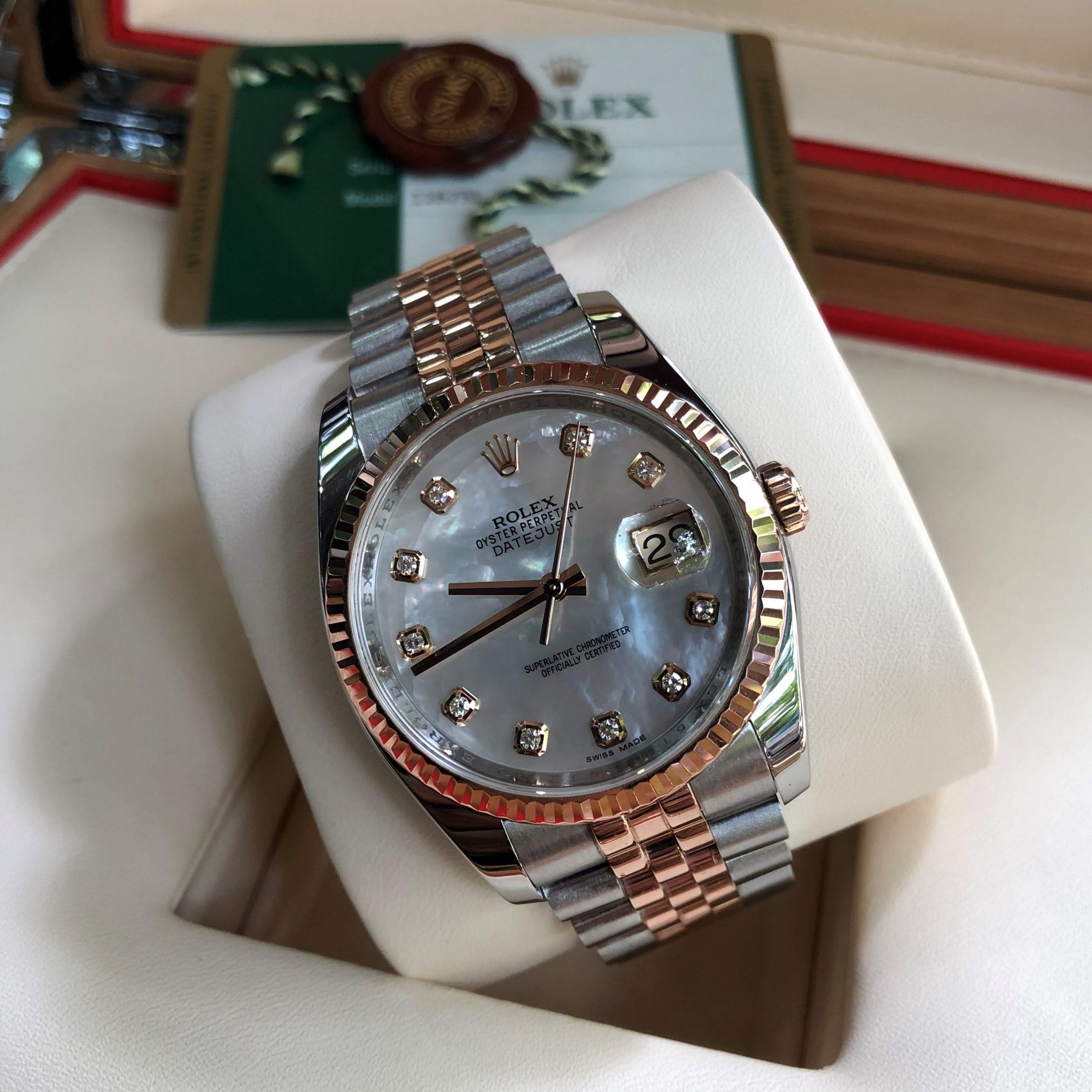 Rolex 116231 mặt ốc trắng demi vàng hồng 18k