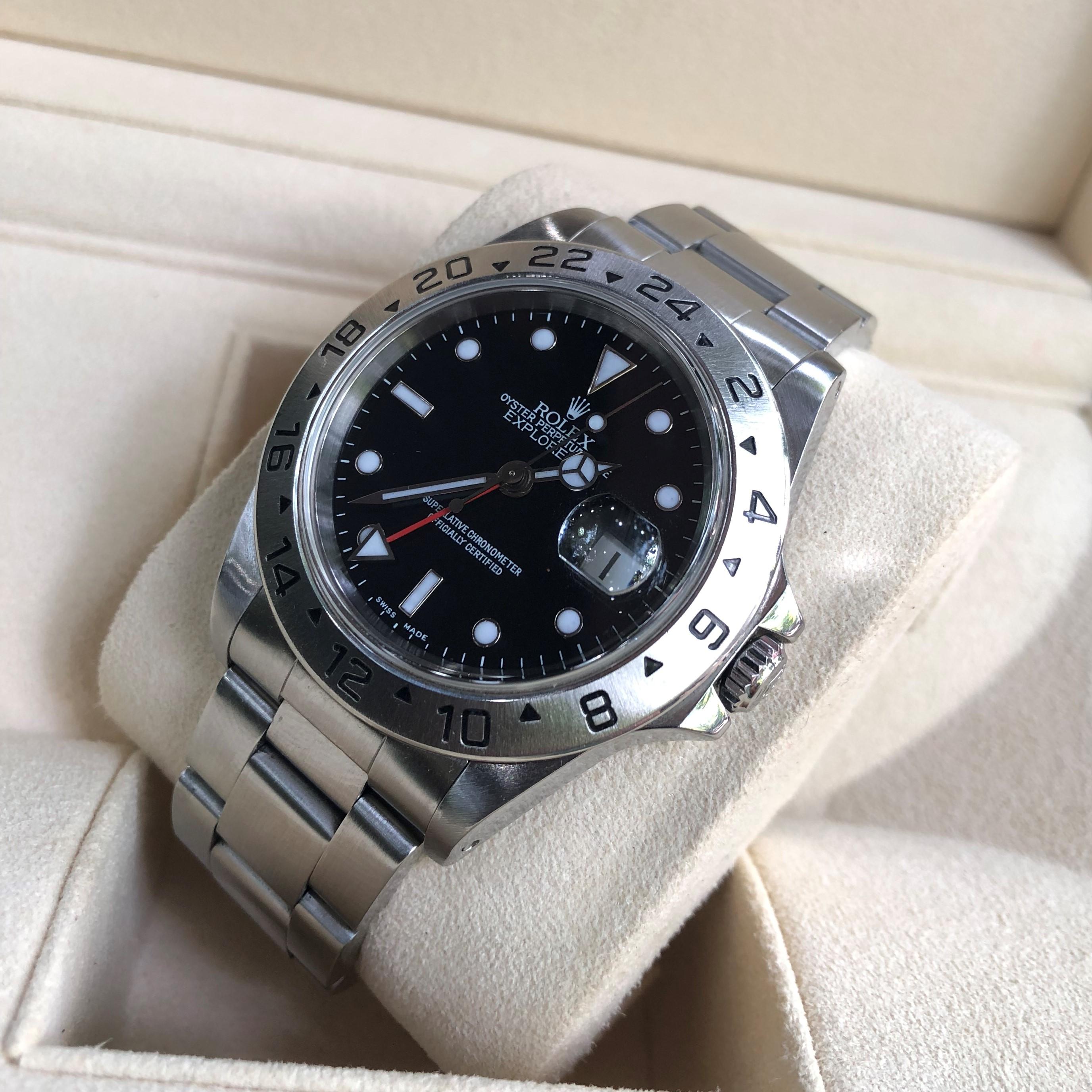 Rolex Explorer 16750 mặt đen thép 904L chức năng GMT Size 40mm