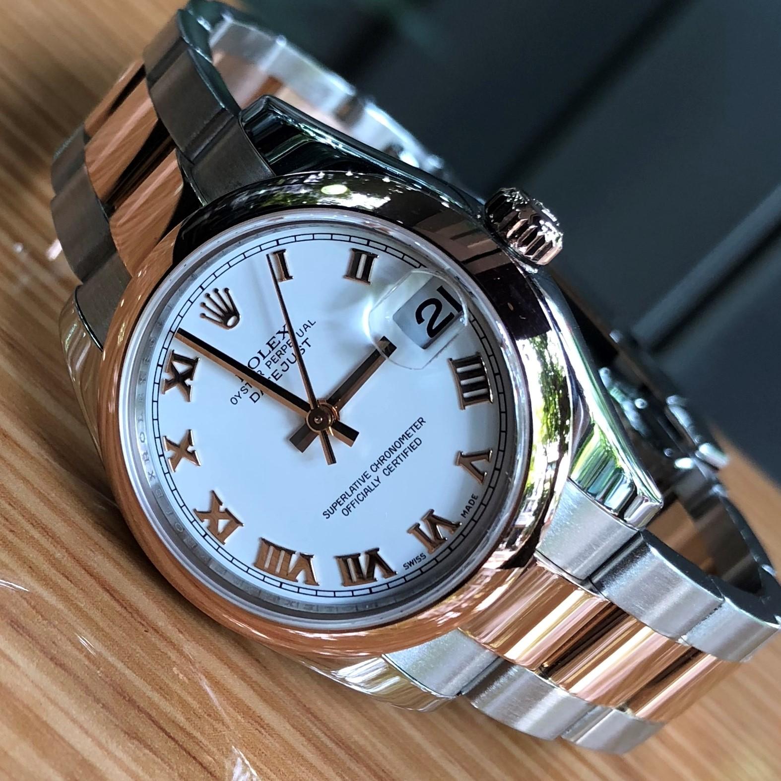 Rolex nữ 178241 mặt trắng cọc số La Mã demi vàng hồng 18k đời 2011