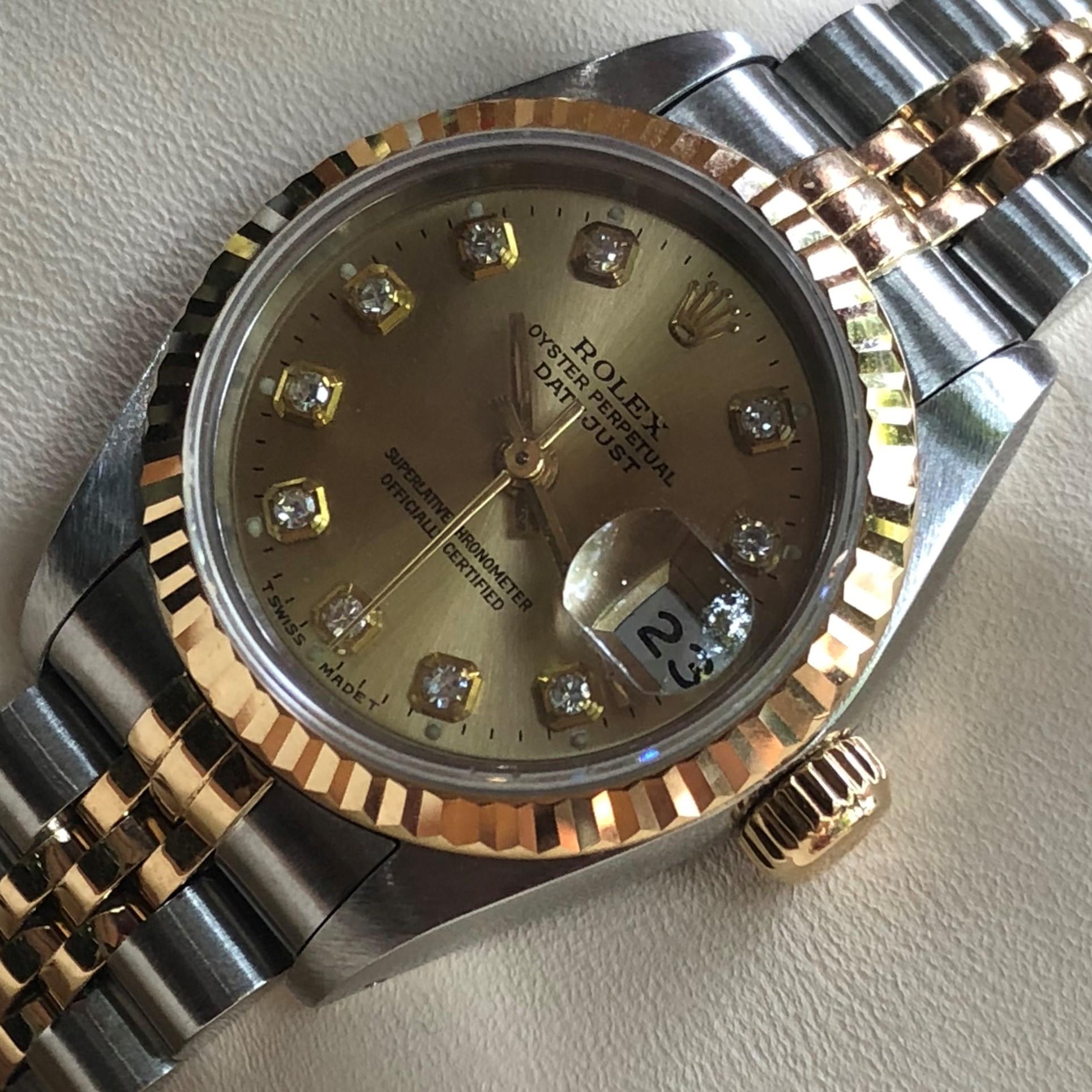 Rolex nữ 69173 mặt vàng tia demi vàng 18k size 26mm đời 96/97