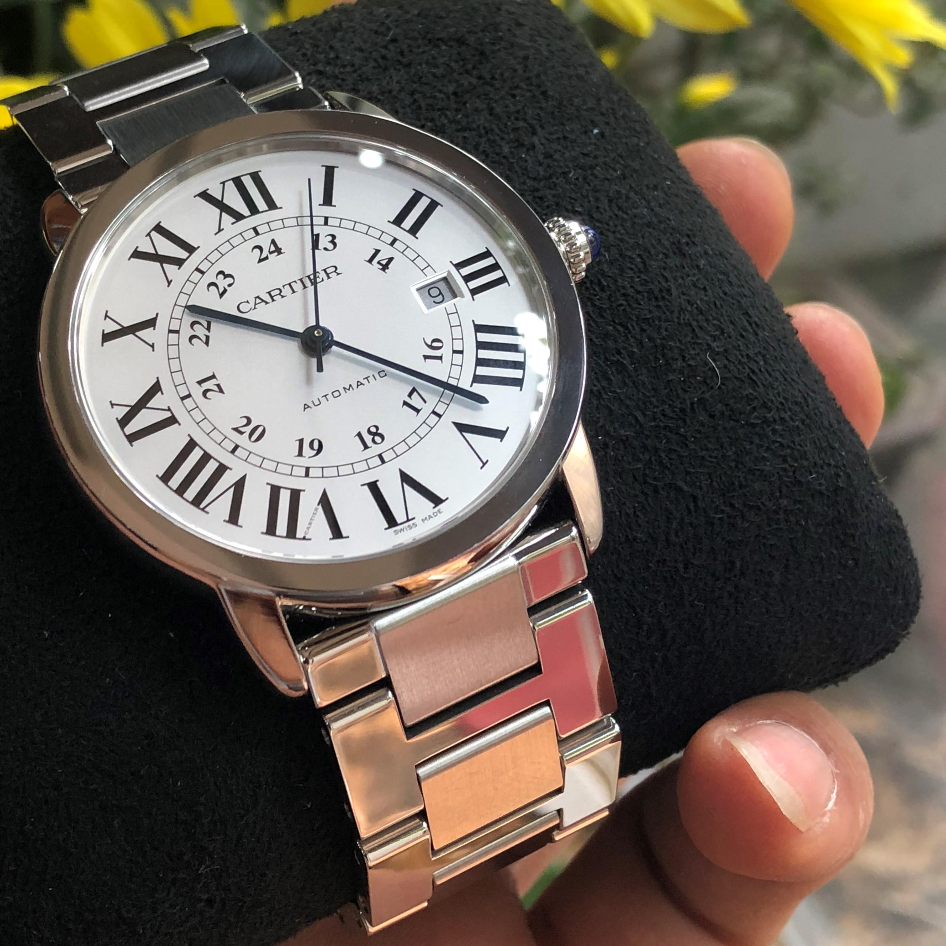 Cartier Ronde Solo De W6701011 mặt trắng cọc số La Mã