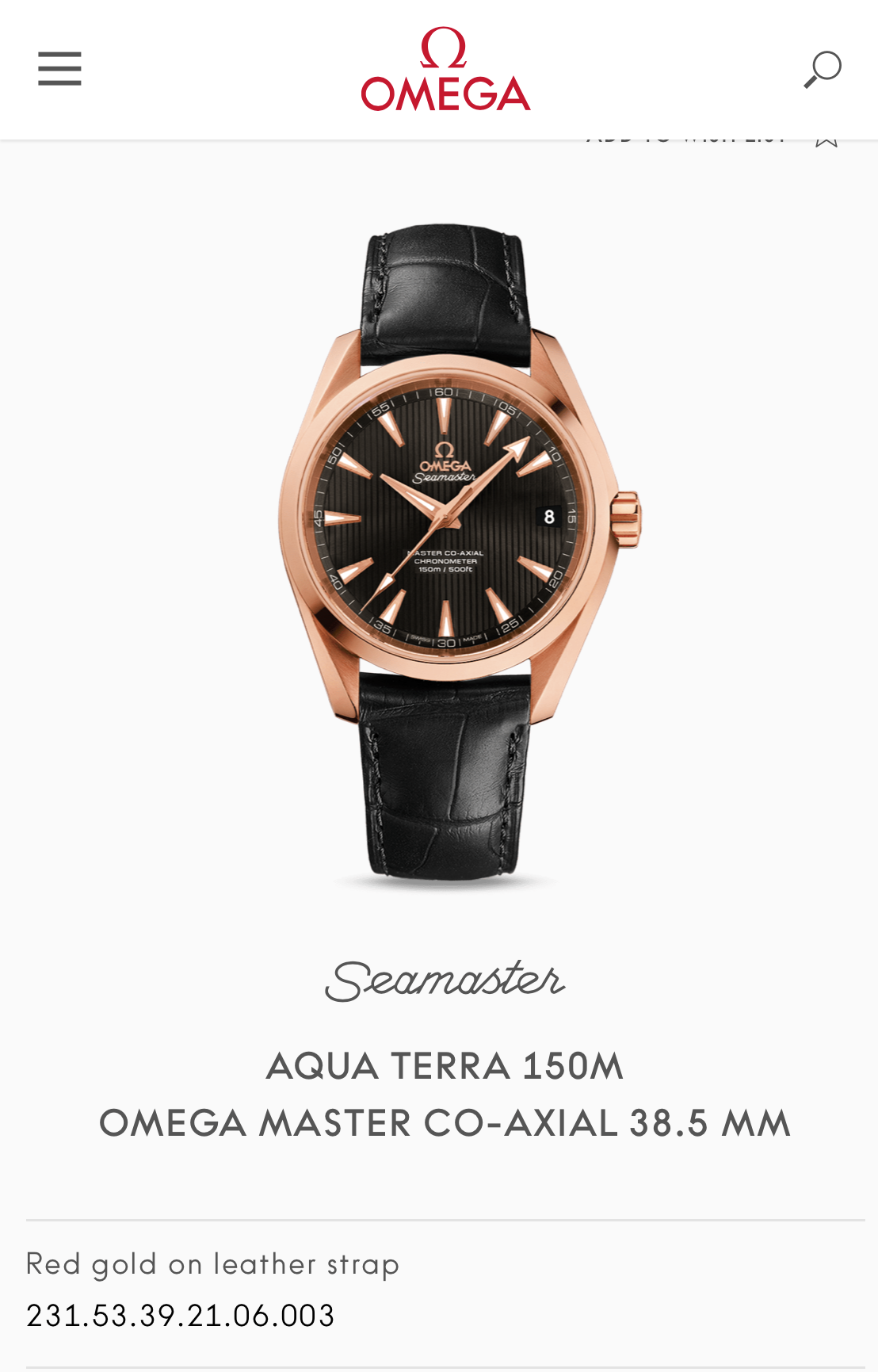 Omega Seamaster Aqua Terra 231.53.39.21.06.003